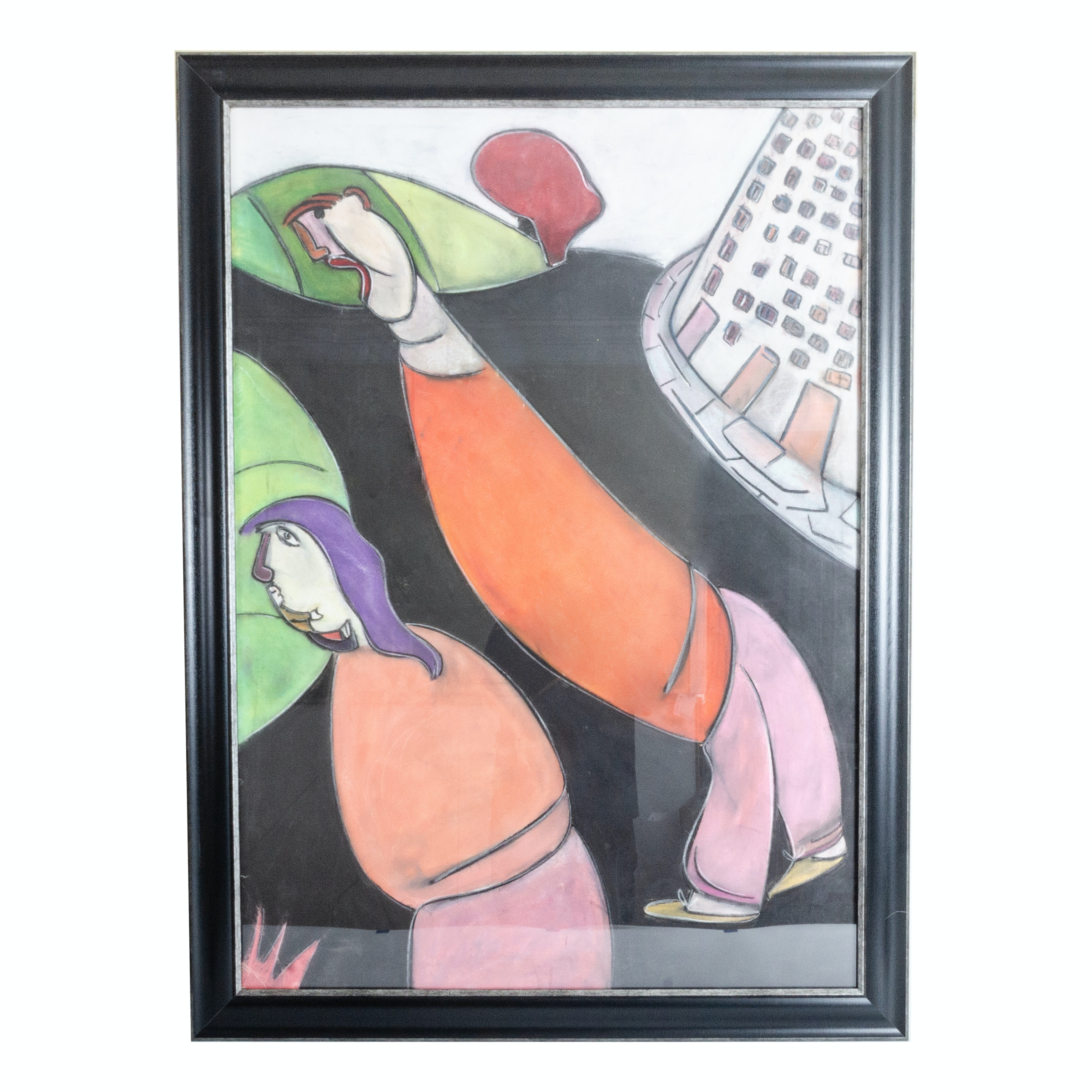 """Albert Louden Abstract Pastel Painting """"Couple Downtown"""""""