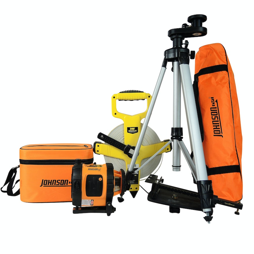 Johnson Self-Leveling Rotary Laser Level with Tripod and More