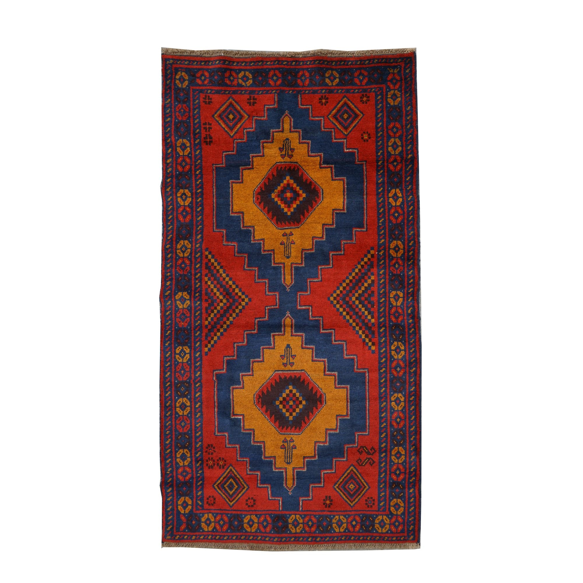 Hand-Knotted Pakistani Baluch Wool Long Rug