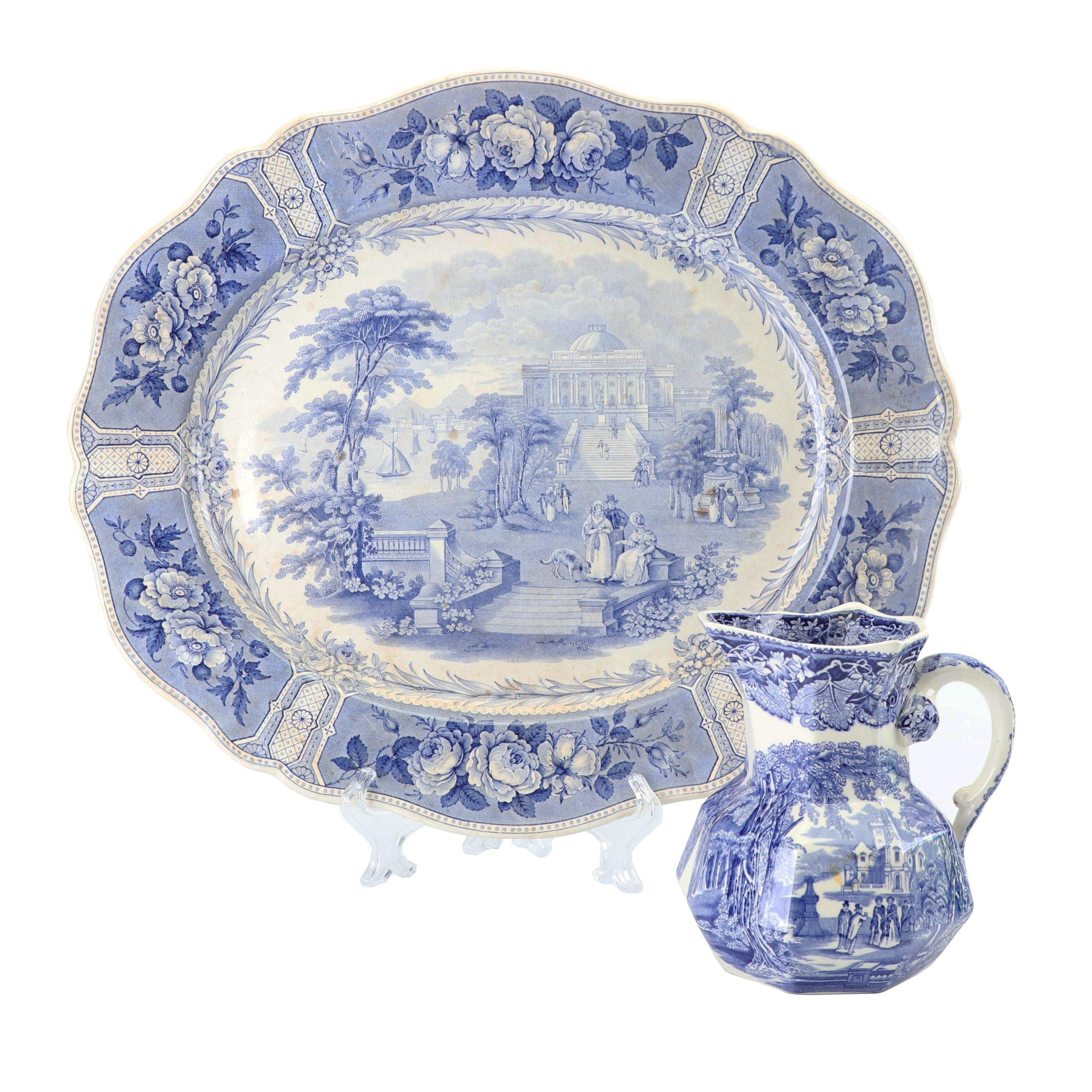 "Mason's ""Vista"" Ironstone Pitcher with Antique Blue Transfer-Printed Platter"
