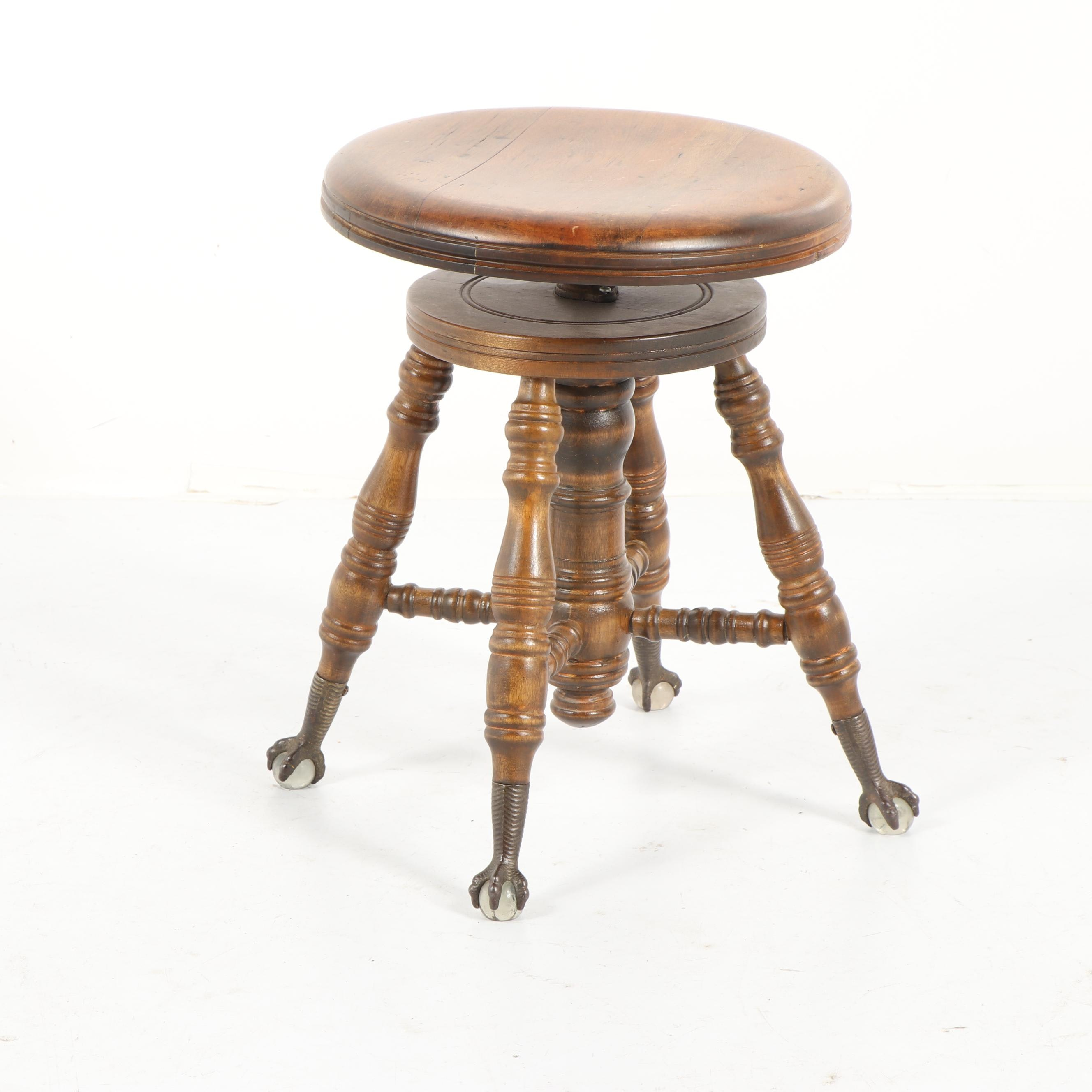 Late Victorian Style Adjustable Piano Stool, Mid 20th Century