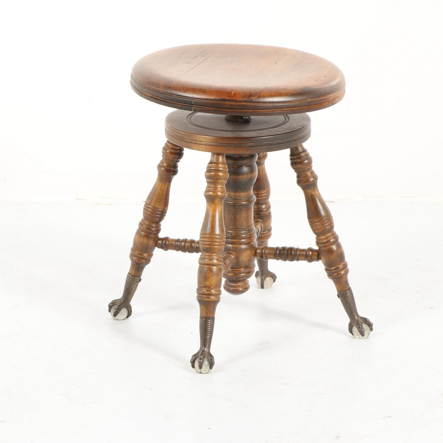 Late Victorian Style Adjustable Piano Stool Mid 20th