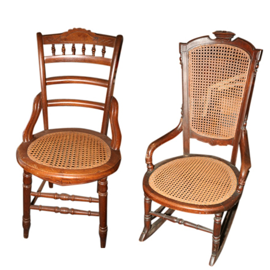 Outstanding Eastlake Style Cane Panel Rocking Chair And Side Chair Gmtry Best Dining Table And Chair Ideas Images Gmtryco