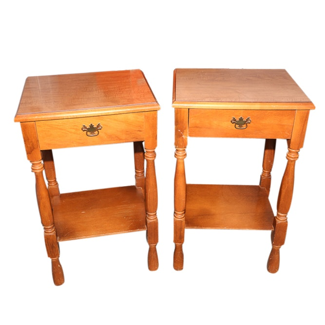 Federal Style Maple Nightstands, Late 20th Century