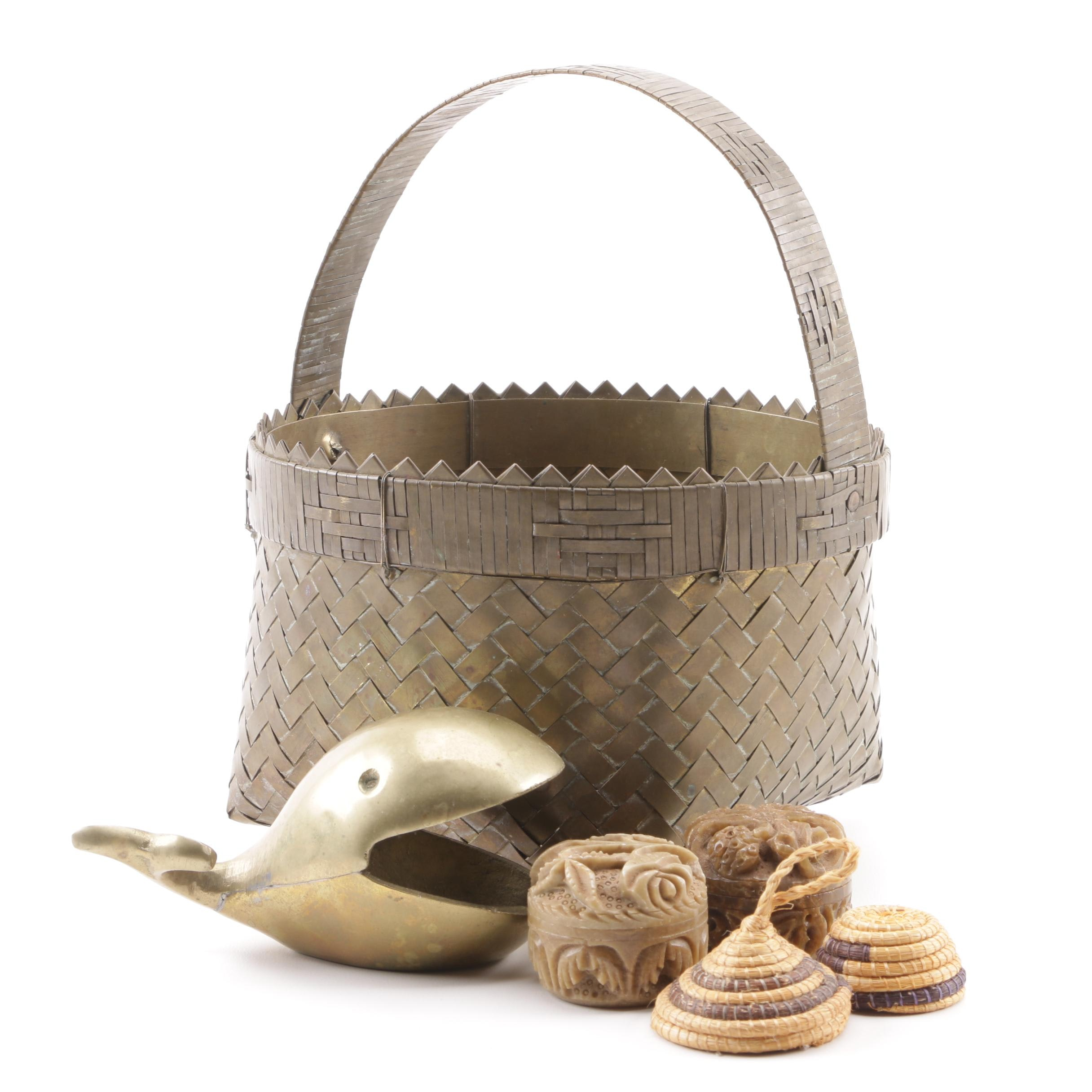 Brass Basket, R. Expo Soapstone Solid Perfumes, Decorative Whale and Mini Basket