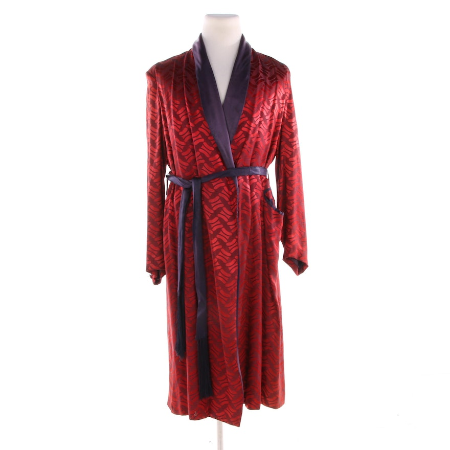 authentic quality 100% satisfaction fashionable and attractive package Men's Mid-20th Century Silk Dressing Robe