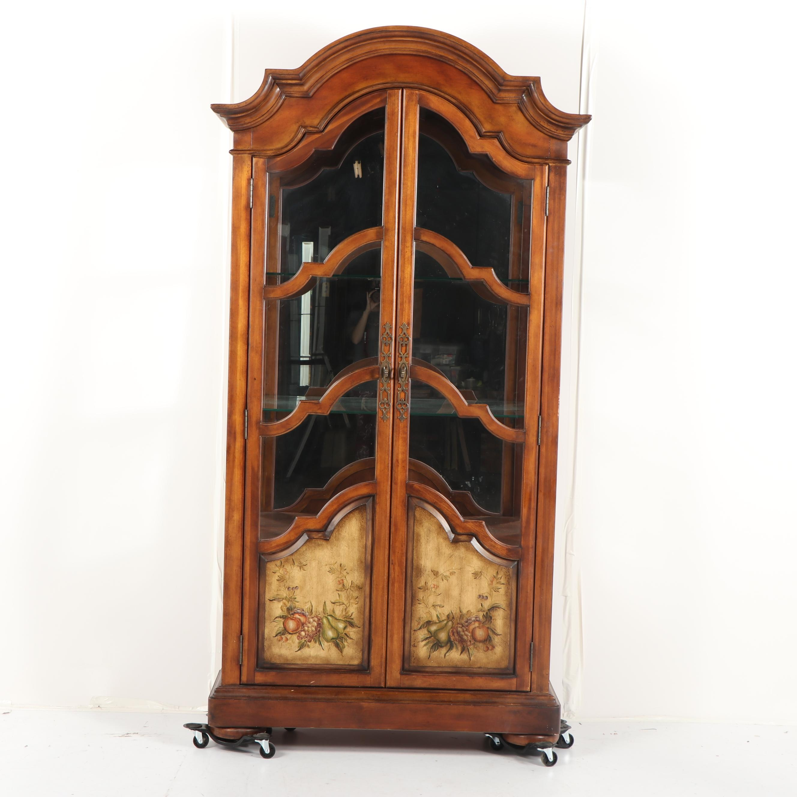 French Provincial Style Walnut Finish Curio Cabinet, 21st Century
