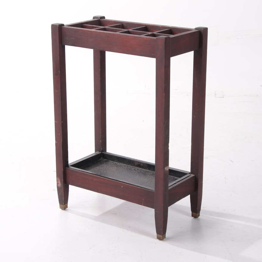 Contemporary Mission Style Painted Wooden Umbrella Stand