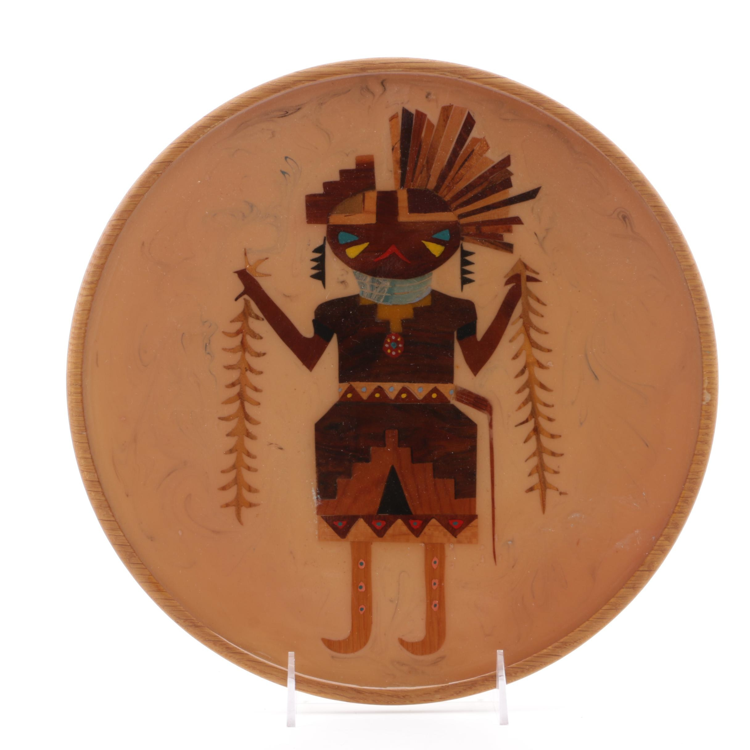 """Hand-Painted Resin and Marquetry Composition """"Hopi Dancer With Pine Boughs"""""""