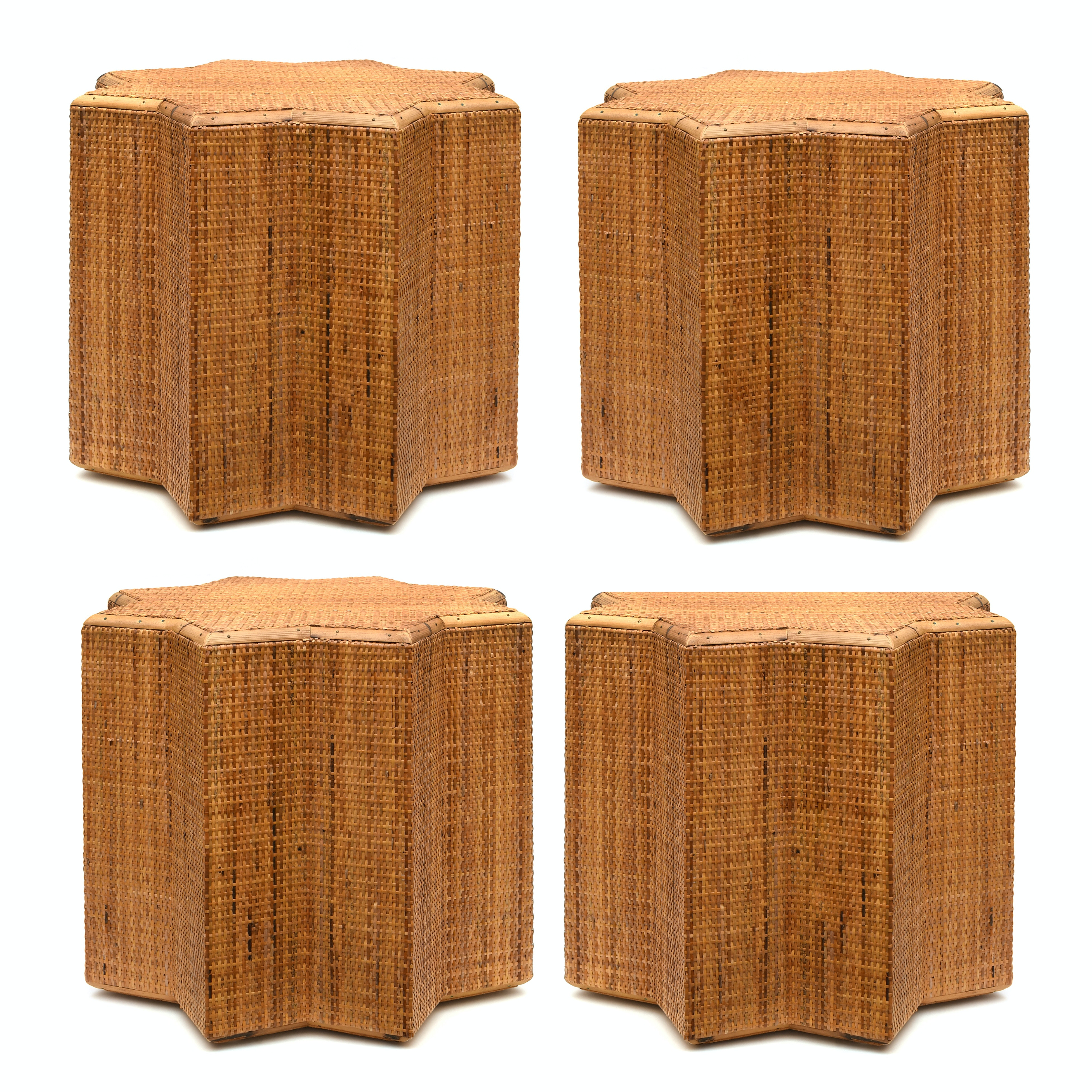 Four Contemporary Wood and Rattan End Tables