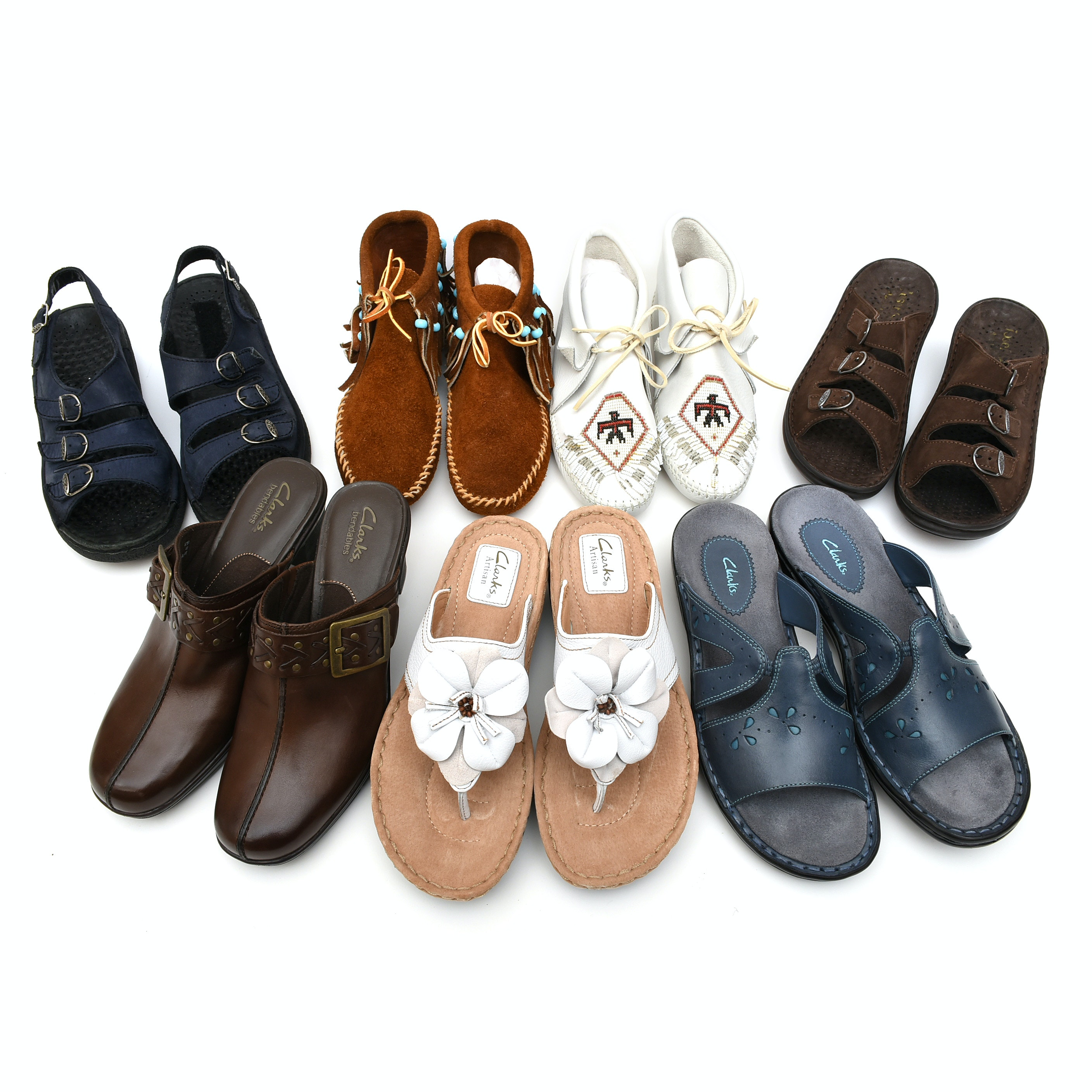 Seven Pairs of Women's Casual Shoes and Moccasins