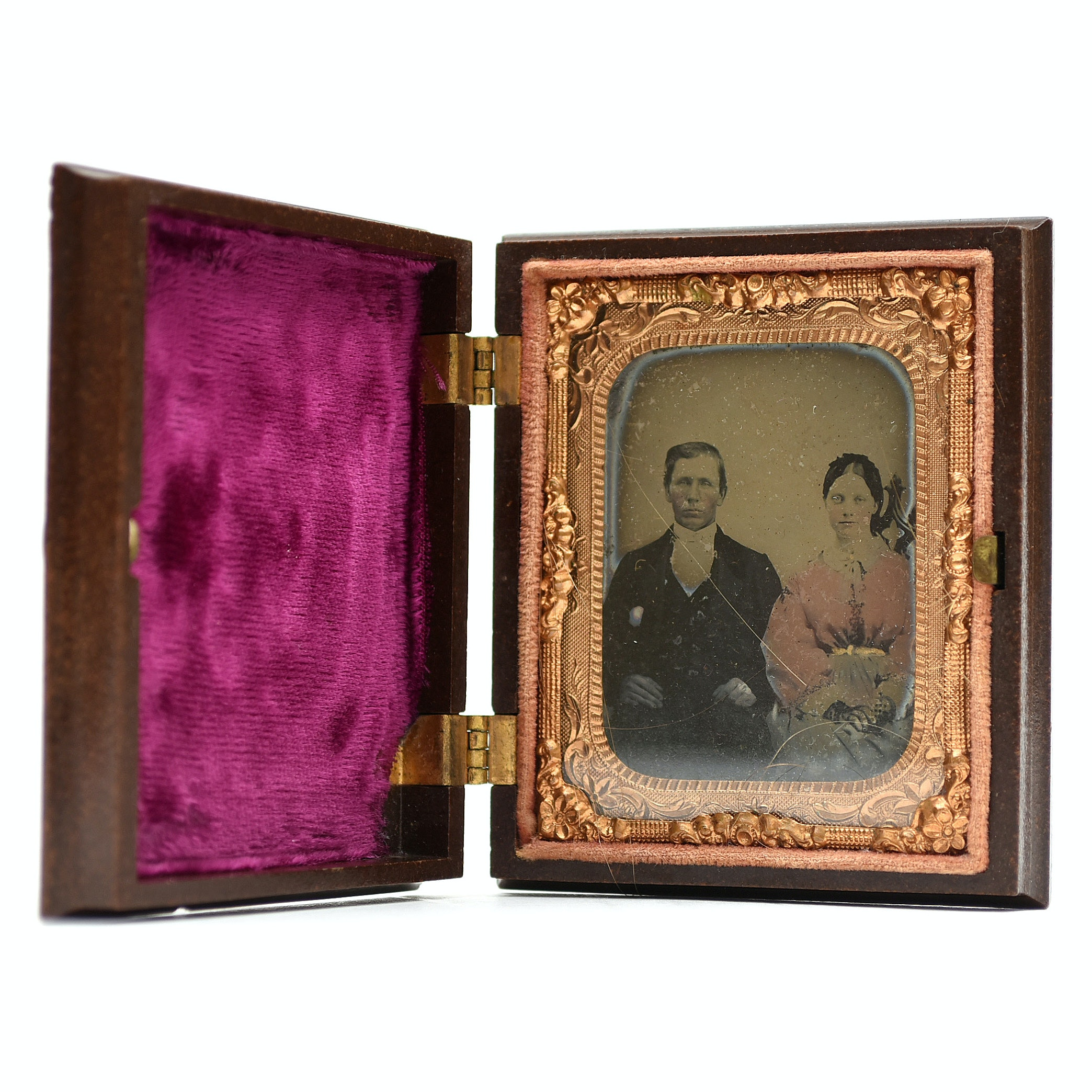 Antique Hand Colored Daguerreotype in Union Case