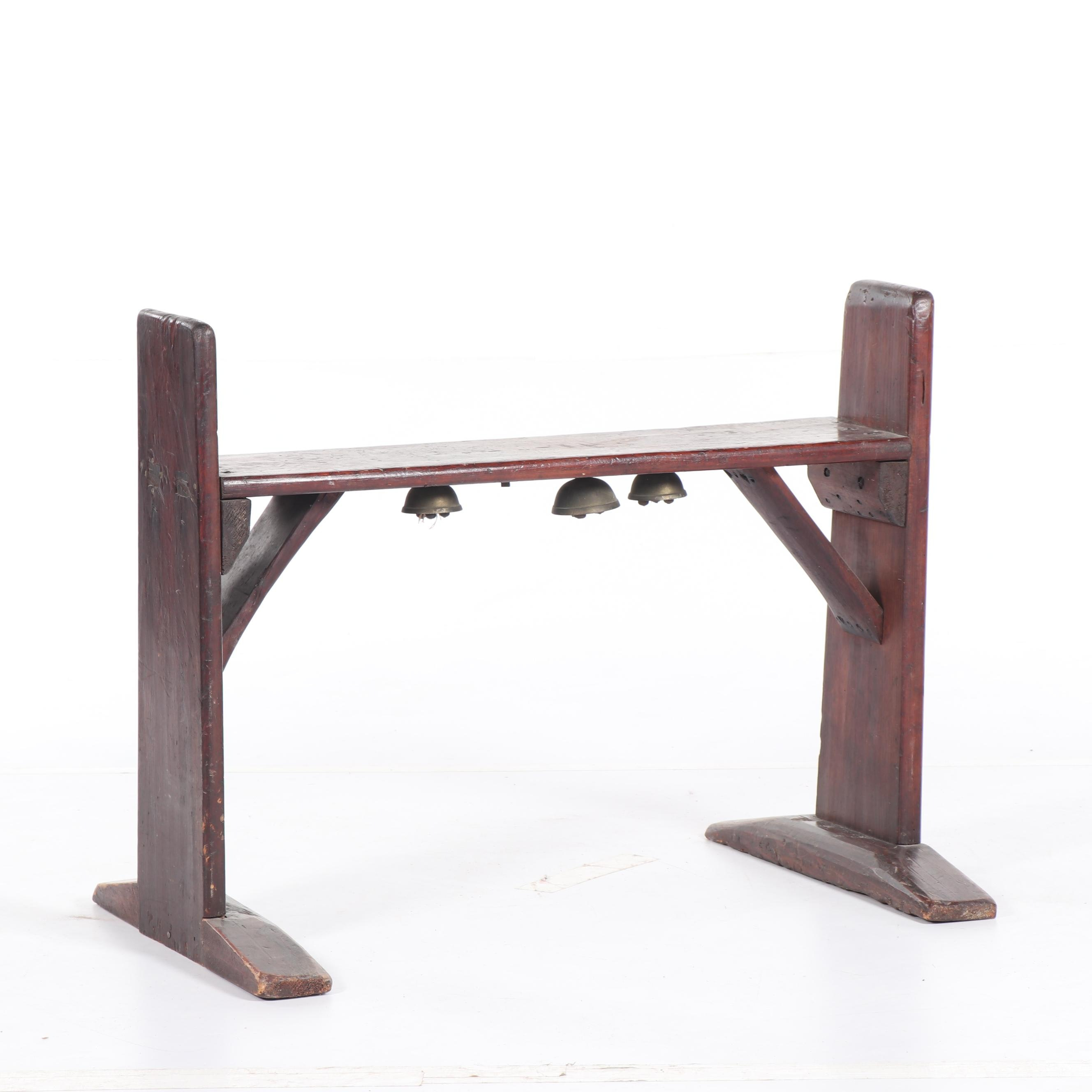 Japanese Style Wooden Table or Bench with Bells, 19th/20th Century