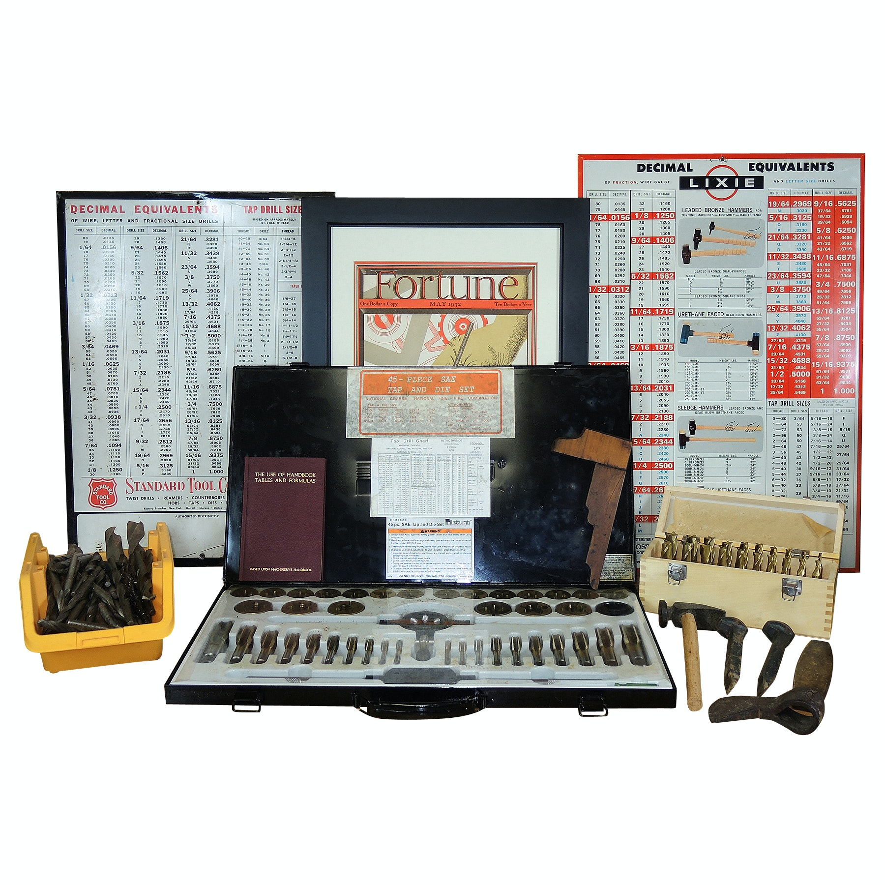 Vintage Hand Tools, Decimal Equivalent Shop Signs, and Tap and Die Set