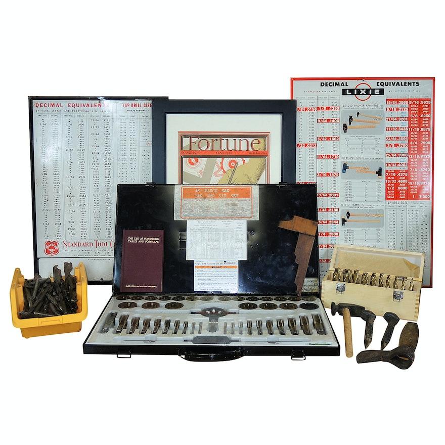 Vintage Hand Tools Decimal Equivalent Shop Signs And Tap Die Set EBTH