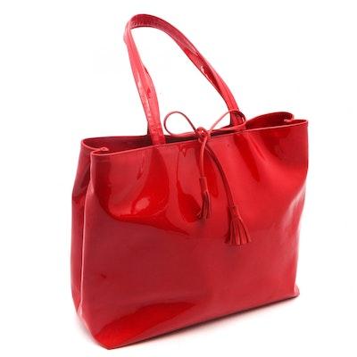 16029ed9e662 Salvatore Ferragamo Red Patent Leather Tote Bag