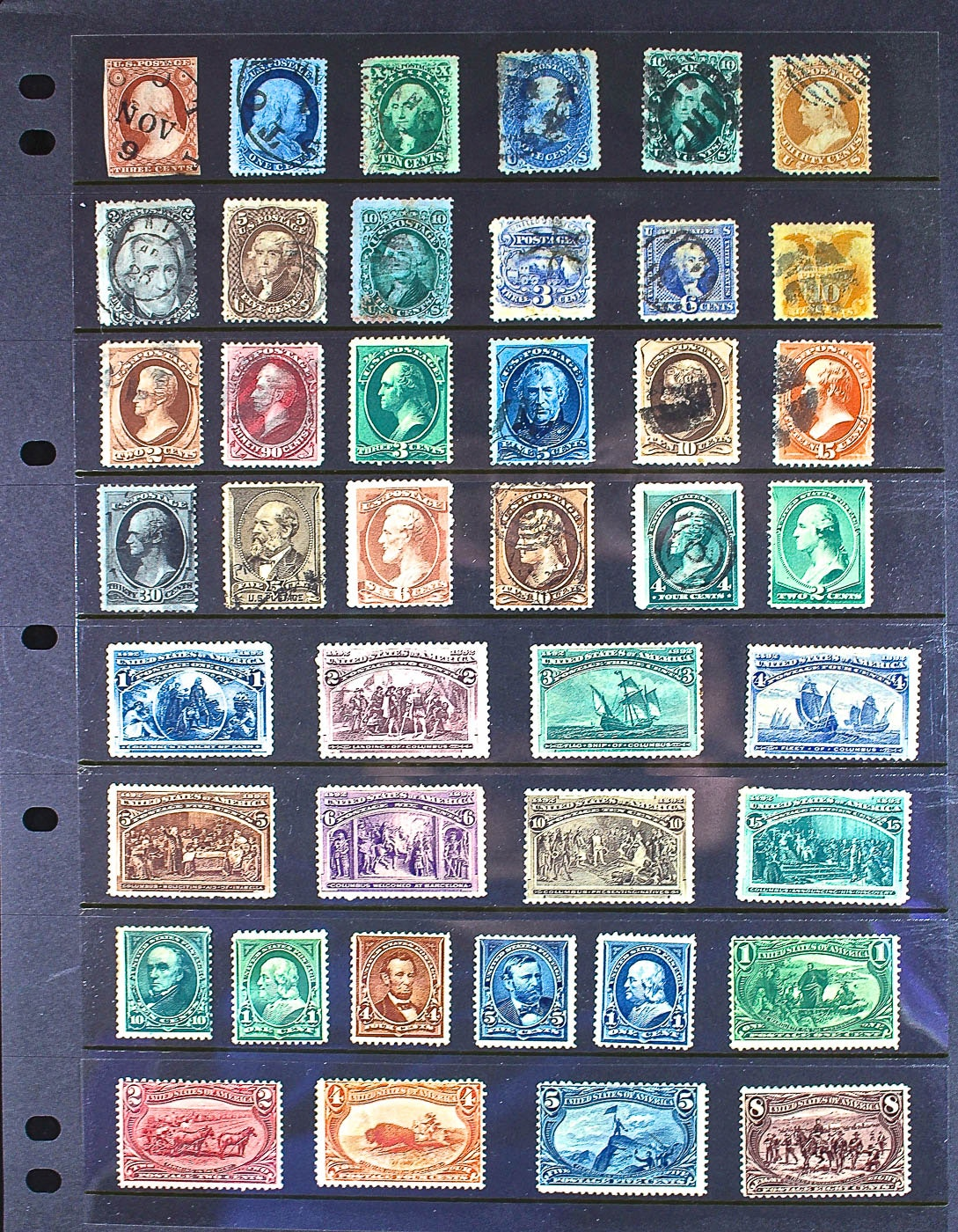 Group of Forty-Two Antique and Vintage U.S. Stamps