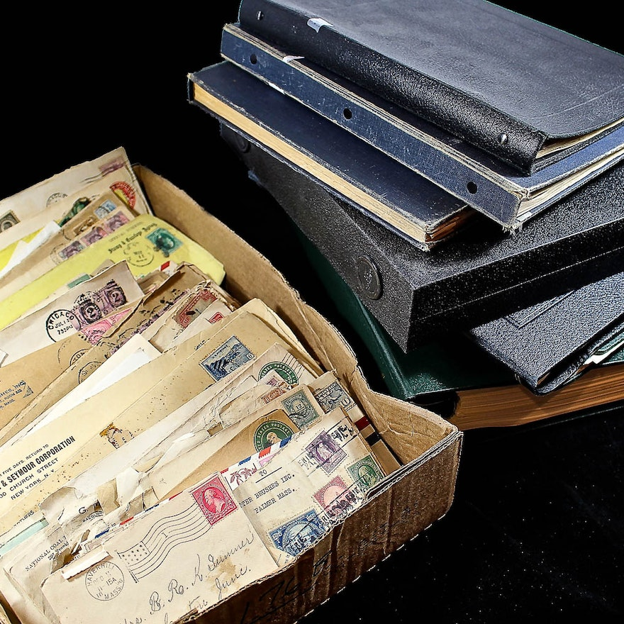 Group of Various Stamp Albums and Covers Including Foreign and Domestic  Stamps