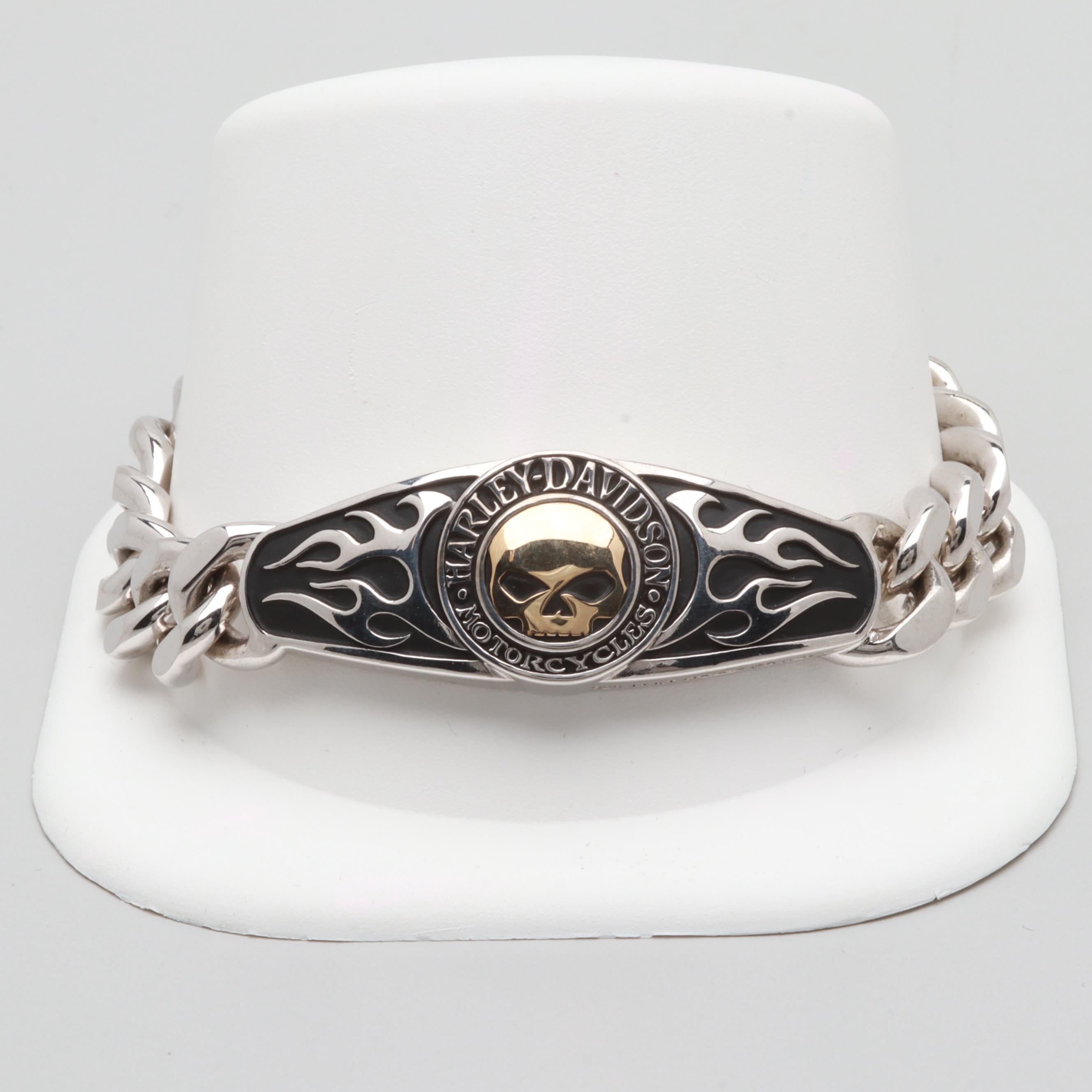 Harley Davidson Sterling Silver & 14K Yellow Gold Bracelet