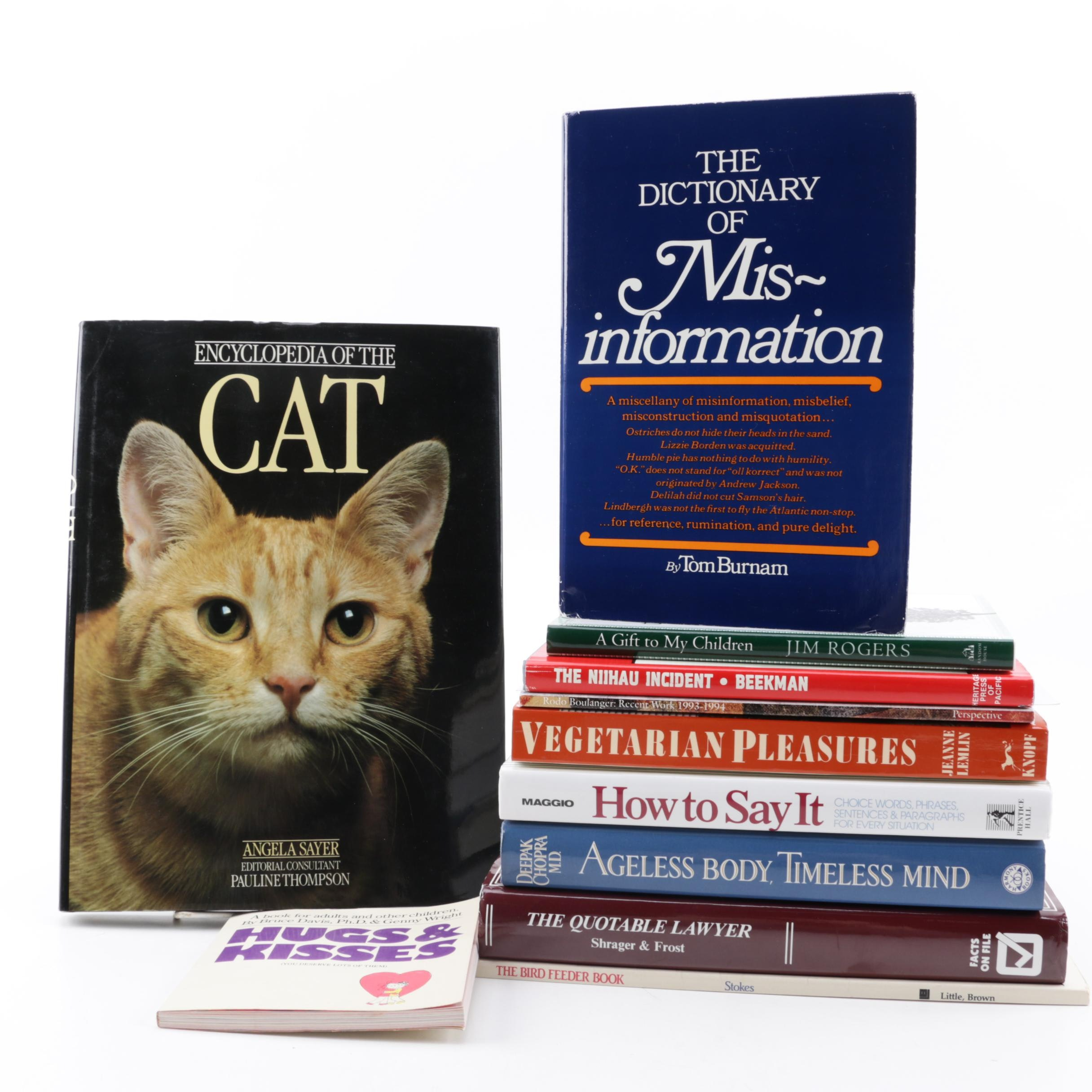"""Nonfiction Reference and Novelty Books including """"Encyclopedia of the Cat"""""""