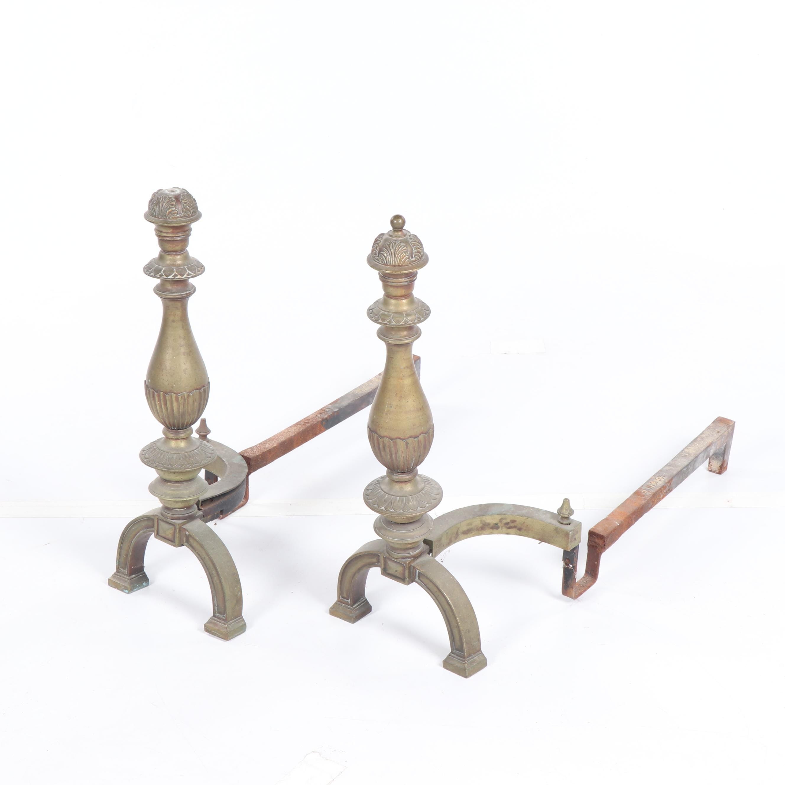 Early to Mid 20th Century McKinney Brass Andirons