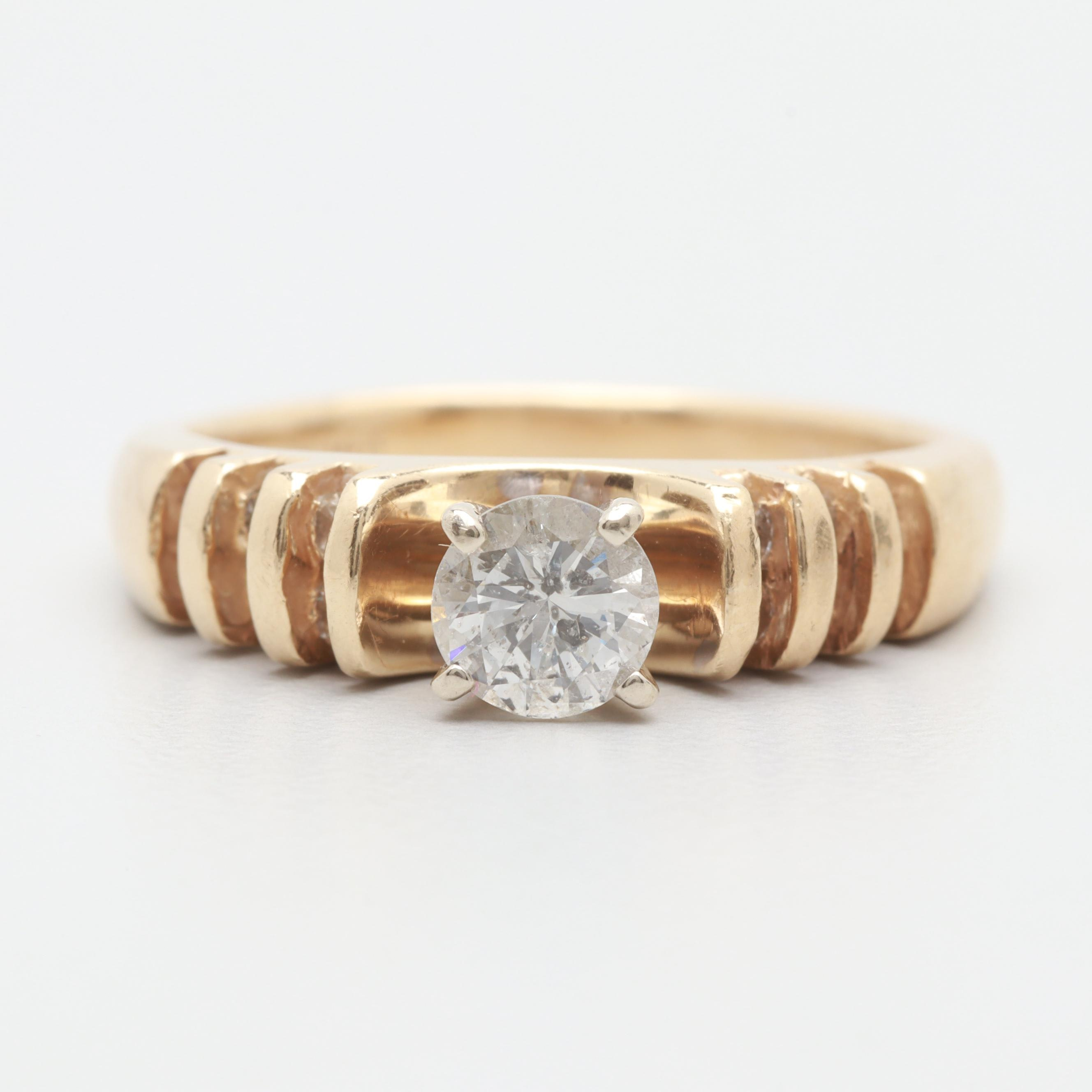 14K Yellow Gold Diamond Ring with 10K White Gold Accents