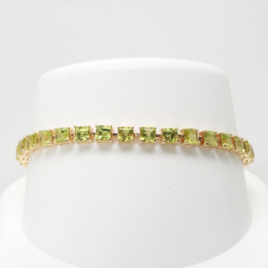 14k Yellow Gold Peridot Bracelet