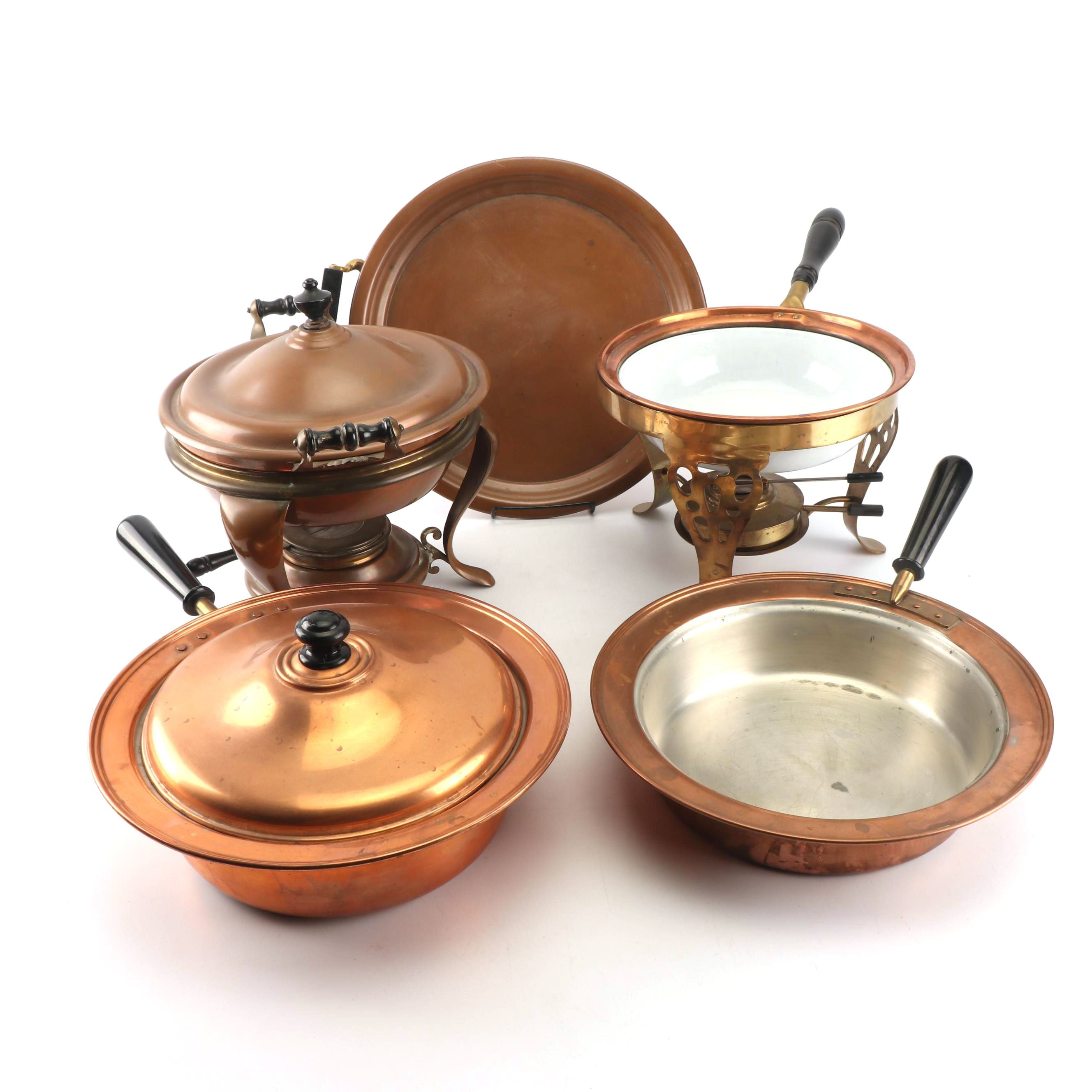 Vintage Copper Chafing Dishes and Serveware