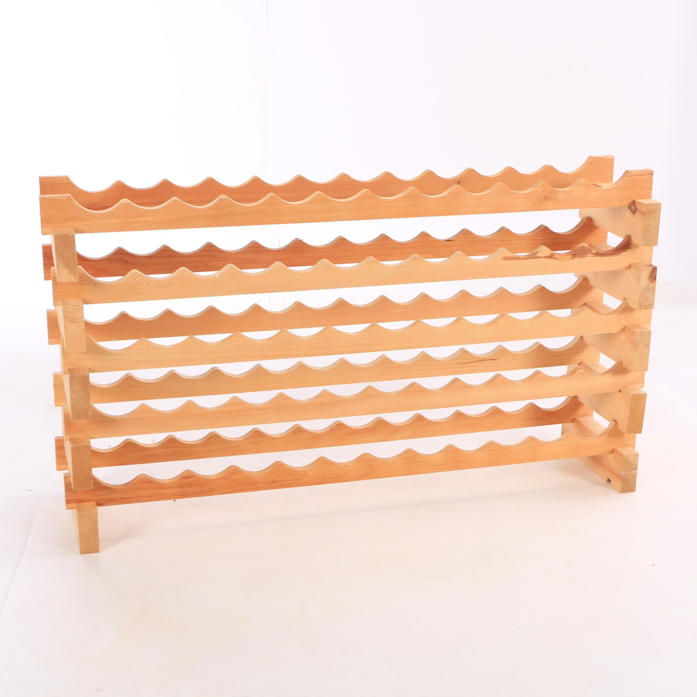 Contemporary Pine Adjustable Wine Rack