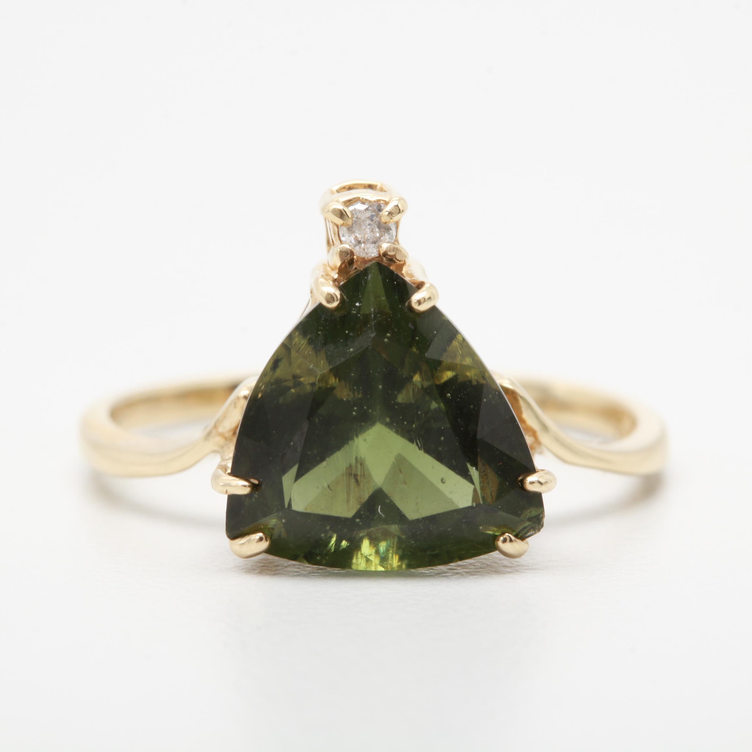 14K Yellow Gold Moldavite and Diamond Ring