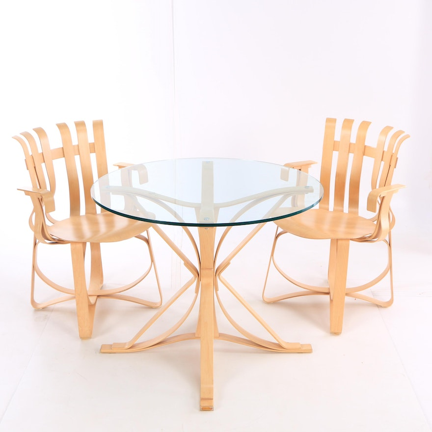 Maple Hat Trick Arm Chairs Face Off Table By Frank Gehry For Knoll 21st C EBTH