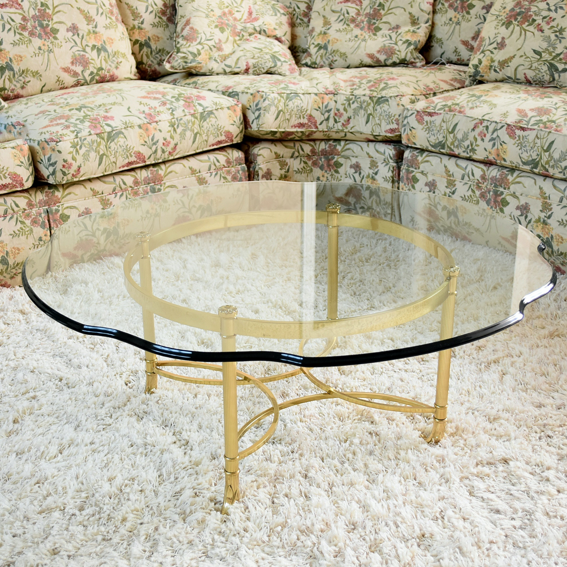 Contemporary Glass Top Coffee Table with Brass Base