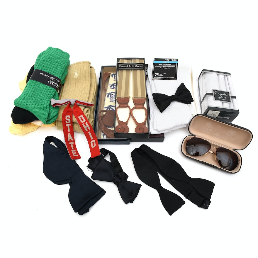 d1f66256ad82 Men's Accessories Including Bow Ties, Socks and Christian Dior  Handkerchiefs : EBTH