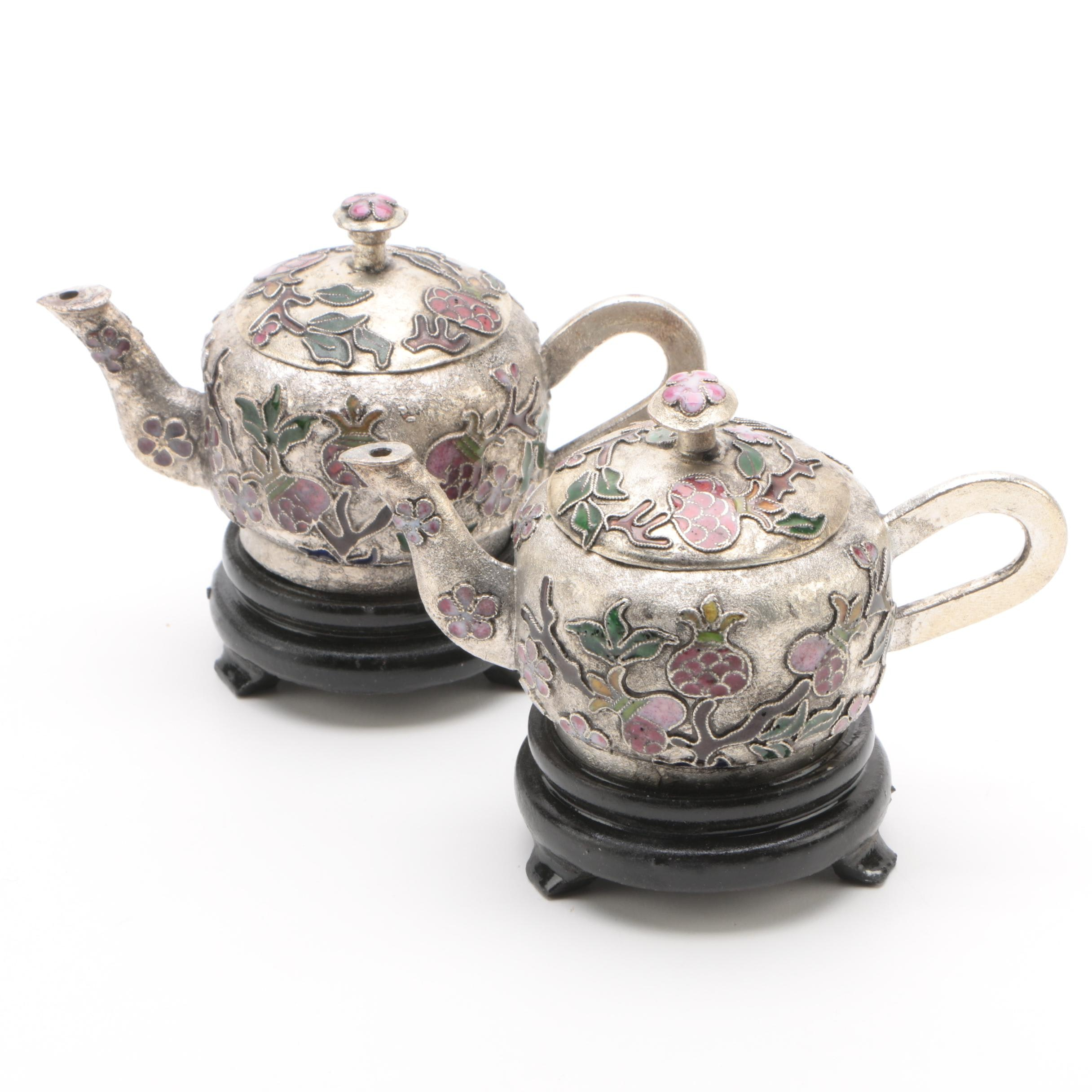 Chinese Cloisonné Miniature Teapots with Stands