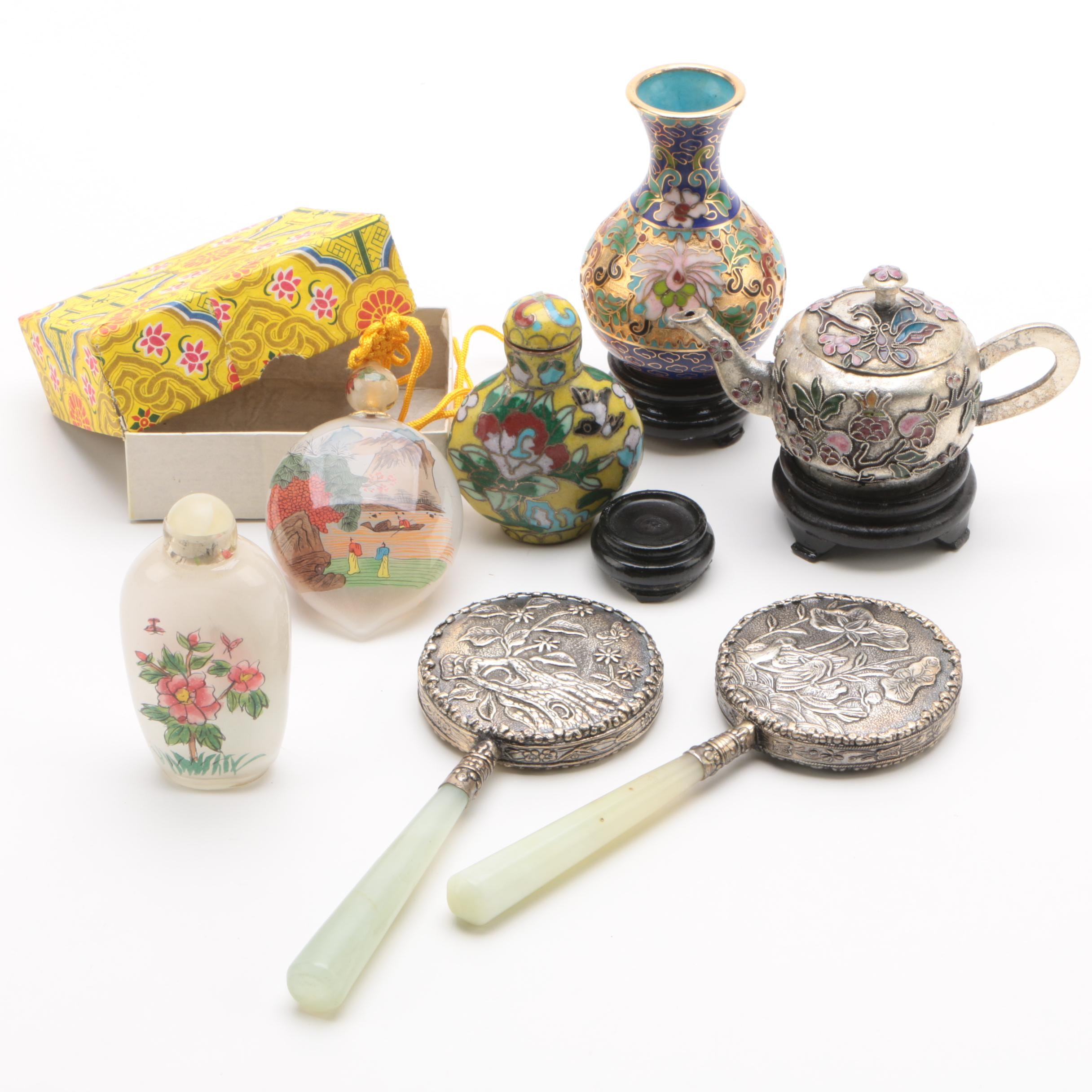 Chinese Snuff Bottles and Miniatures with Stone Handled Mirrors
