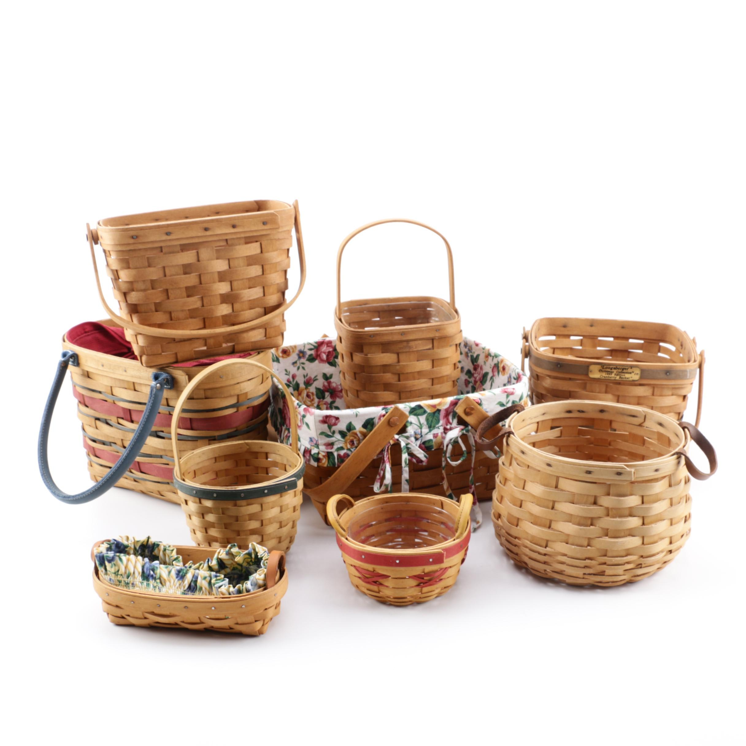 Longaberger Baskets including Liners and a Carnation Baskets Brand