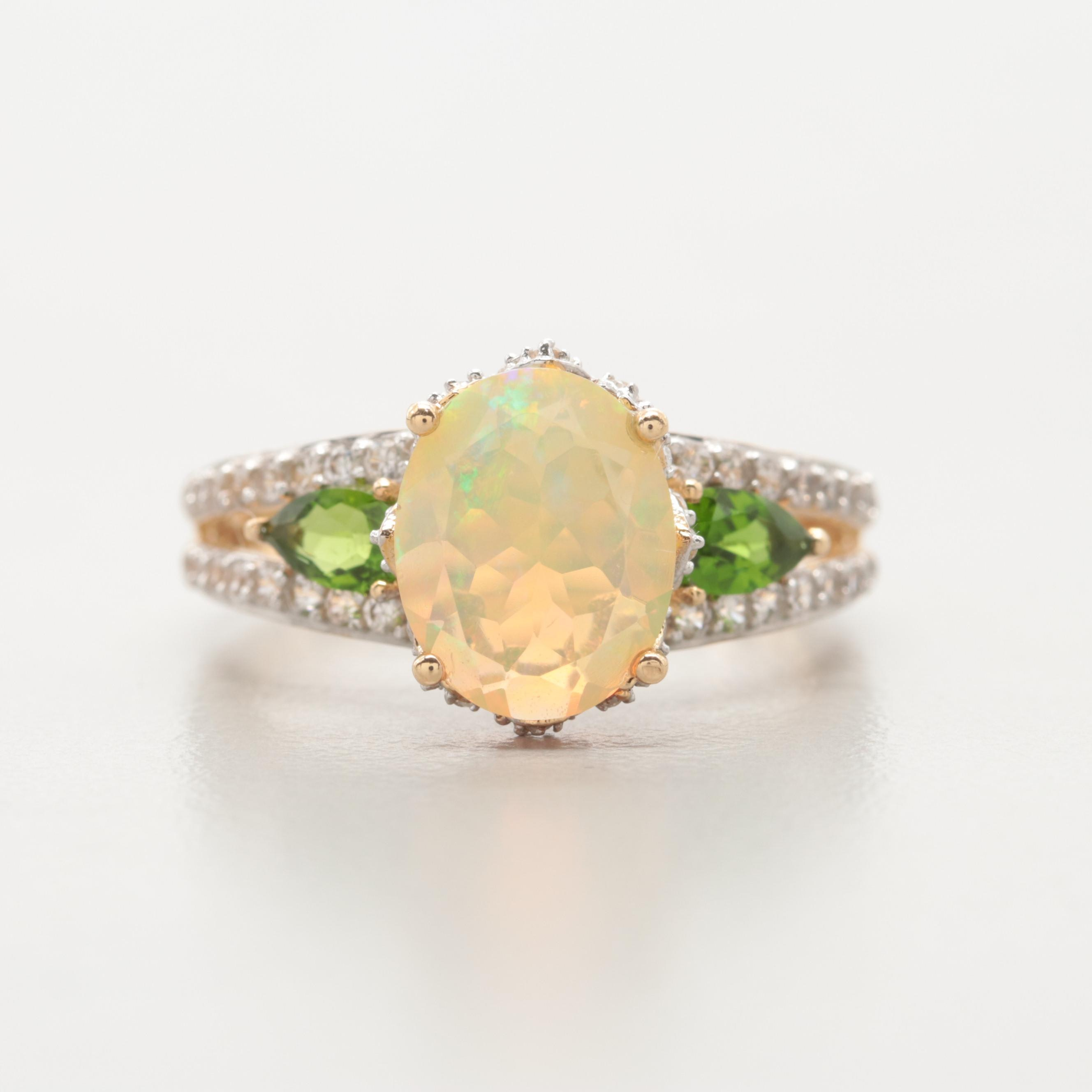 10K Yellow Gold Opal, Chrome Diopside and White Topaz Ring