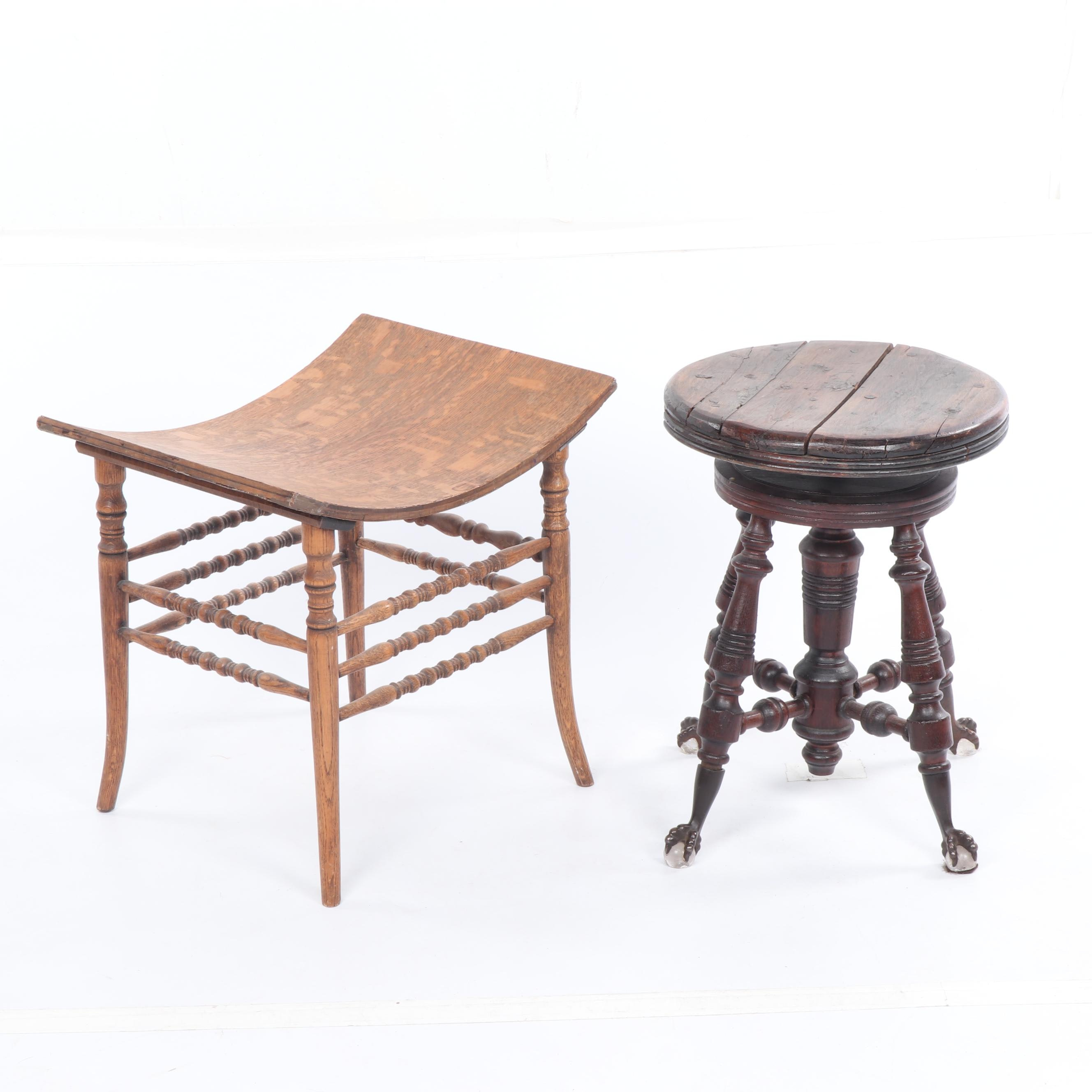 Quartersawn Oak Stool and Late Victorian Style Piano Stool, Early 20th Century