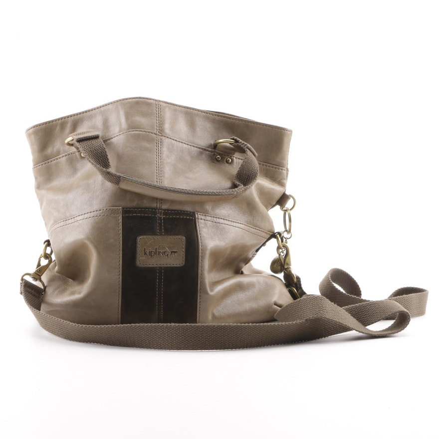 c33c4fdf2cb Kipling Dark Olive and Khaki Green Leather and Suede Convertible Tote ...