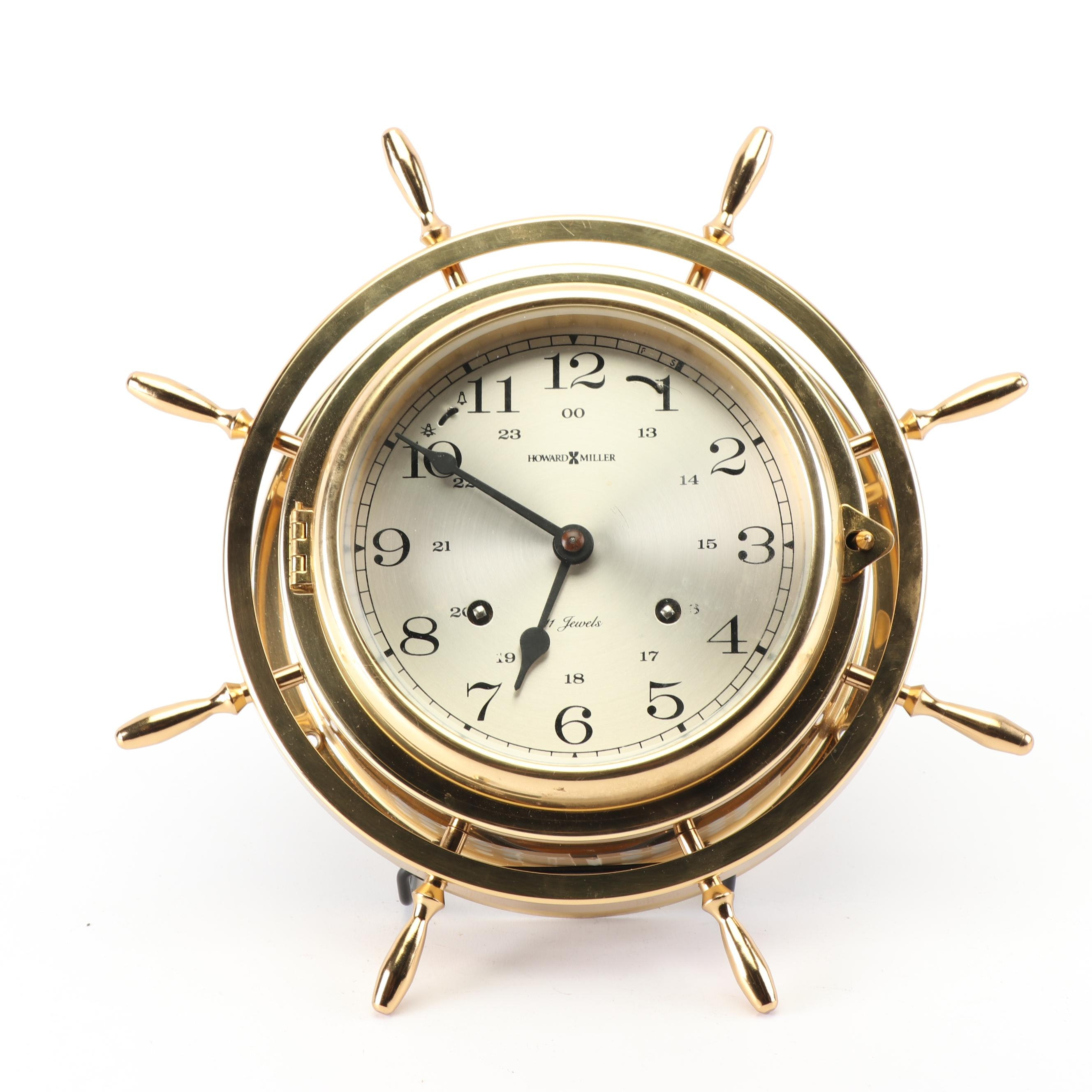 Howard Miller Clock Co. Brass Ship's Wheel Style Clock