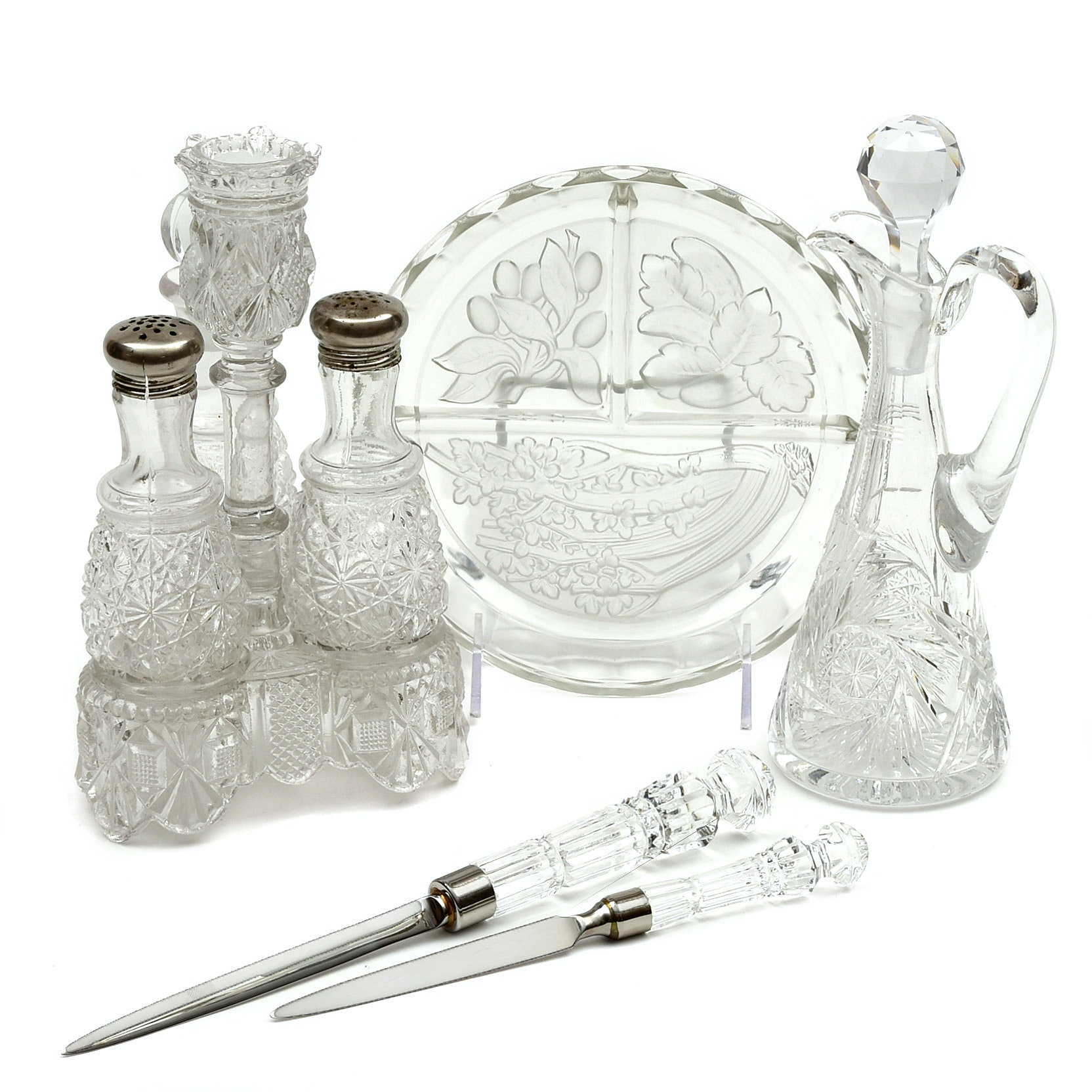 Waterford Crystal Letter Openers, Vintage Pressed Glass Caddy and Serveware