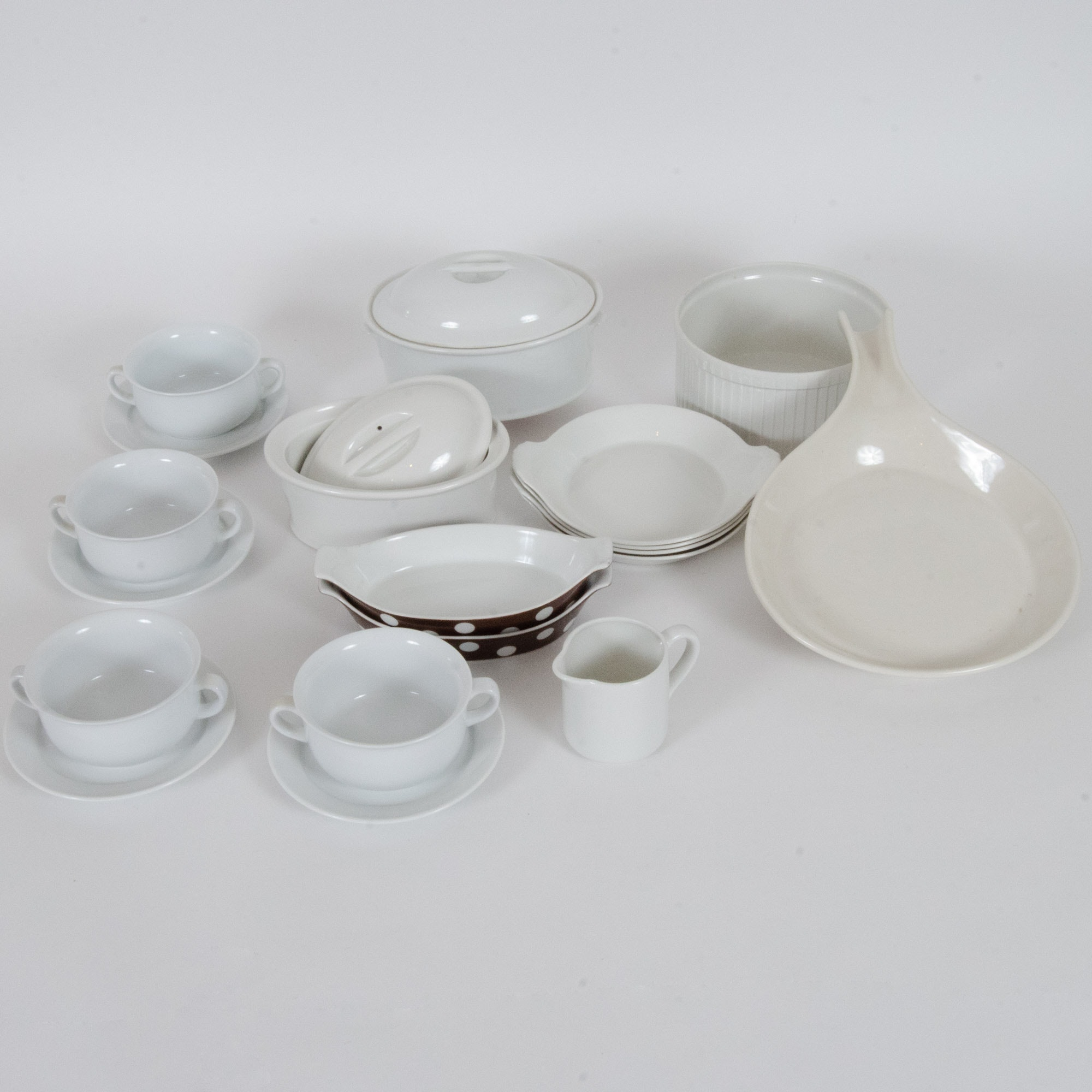 Selection of White Porcelain Tableware, Made in France