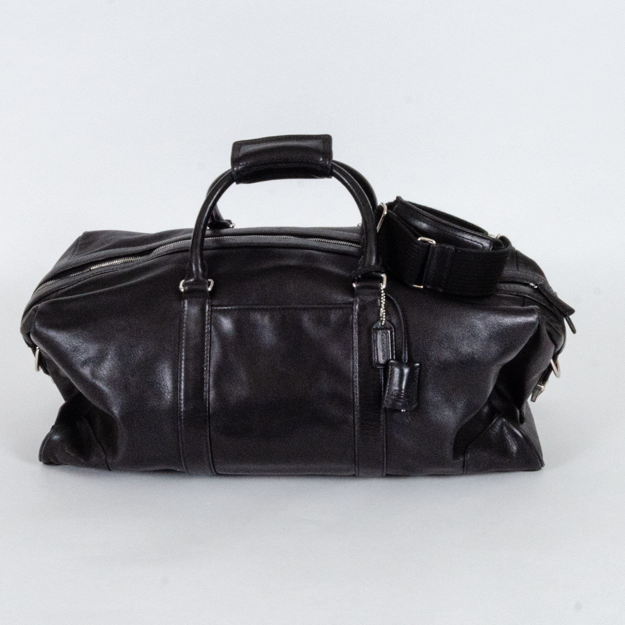 Coach Black Leather Duffel Bag