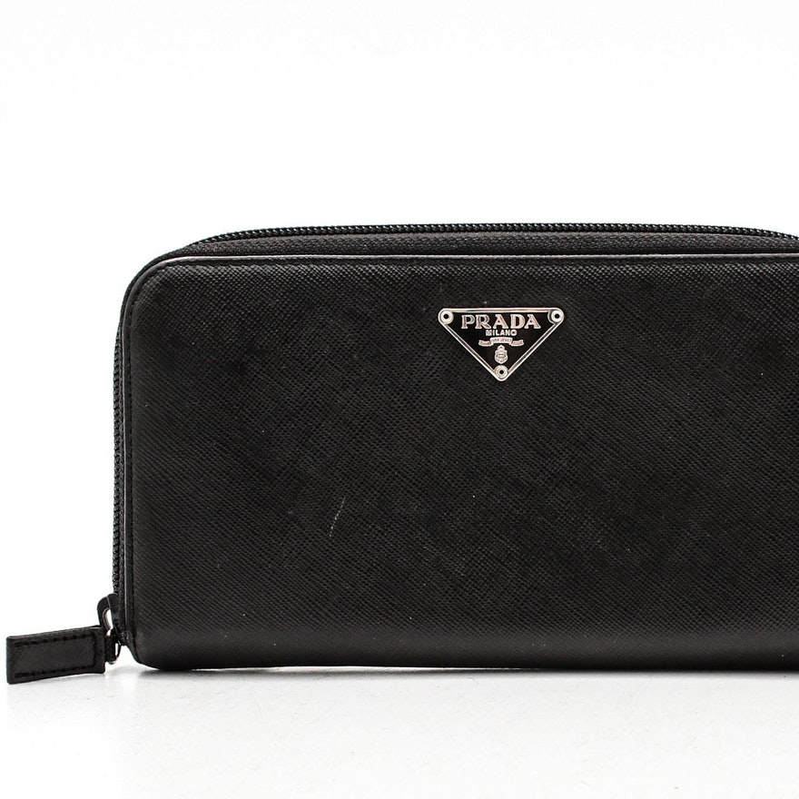 599458f4487128 Prada Nero Saffiano Leather Zip-Around Wallet : EBTH
