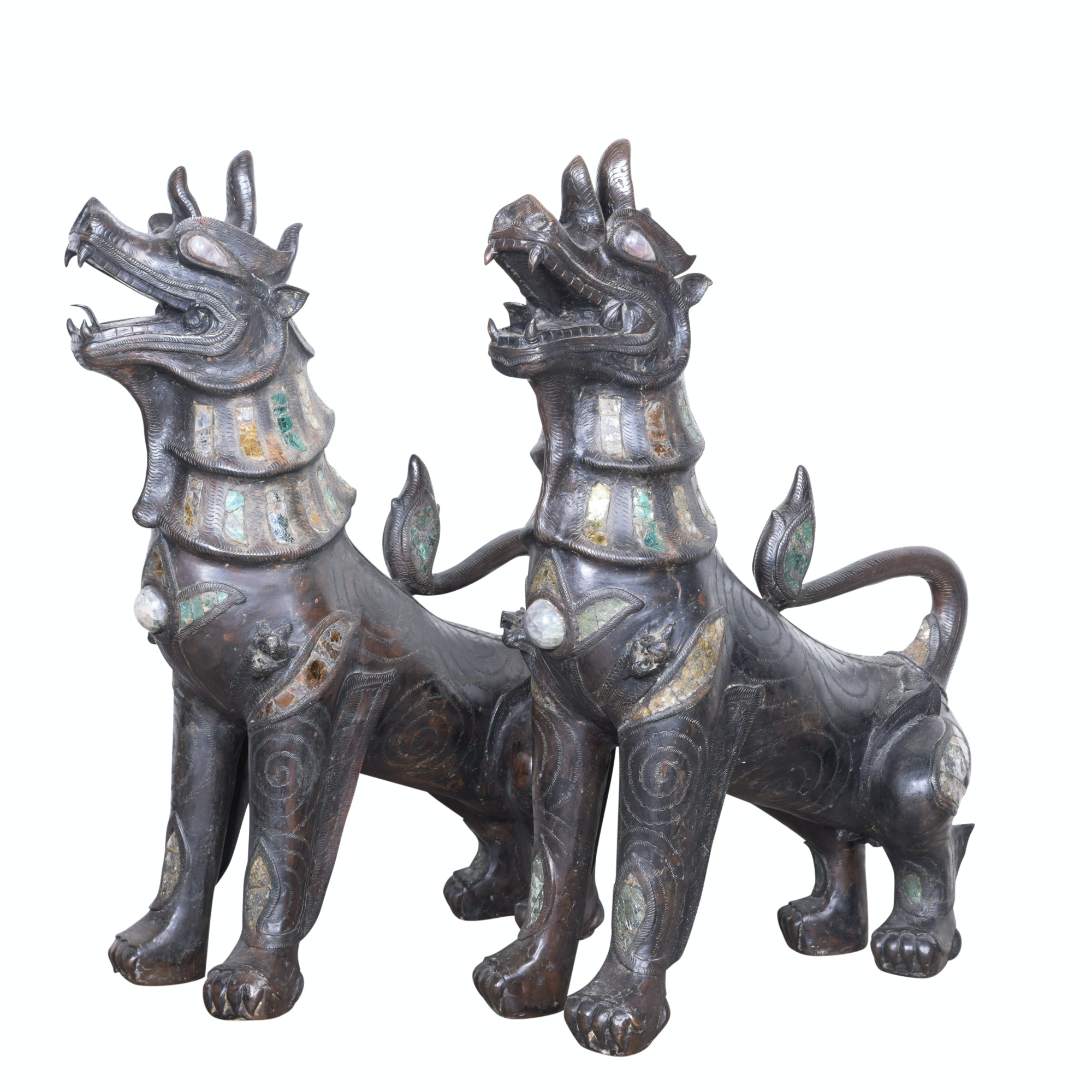Thai Cast Metal Singha Guardian Lions with Glass and Quartz Inlay, 19th Century
