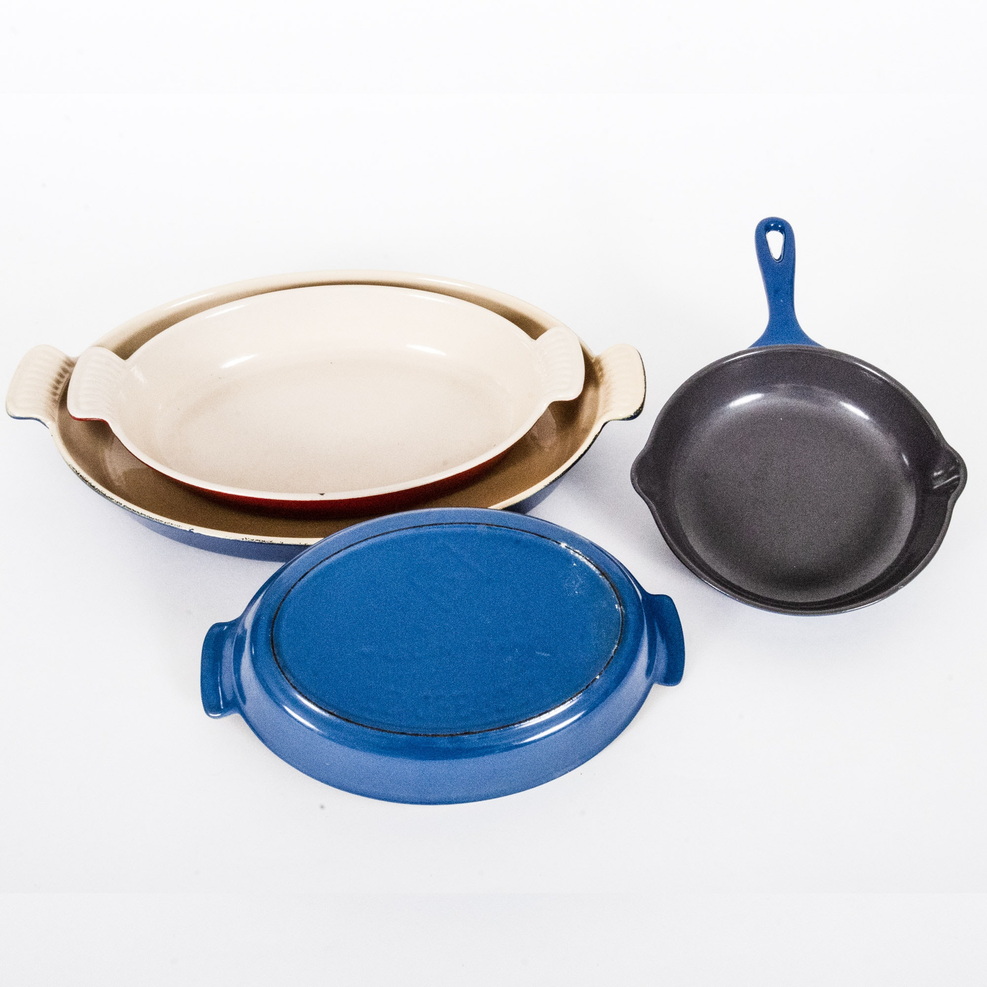 Le Creuset Enamel and Cast Iron Baking Dishes and Fry Pan