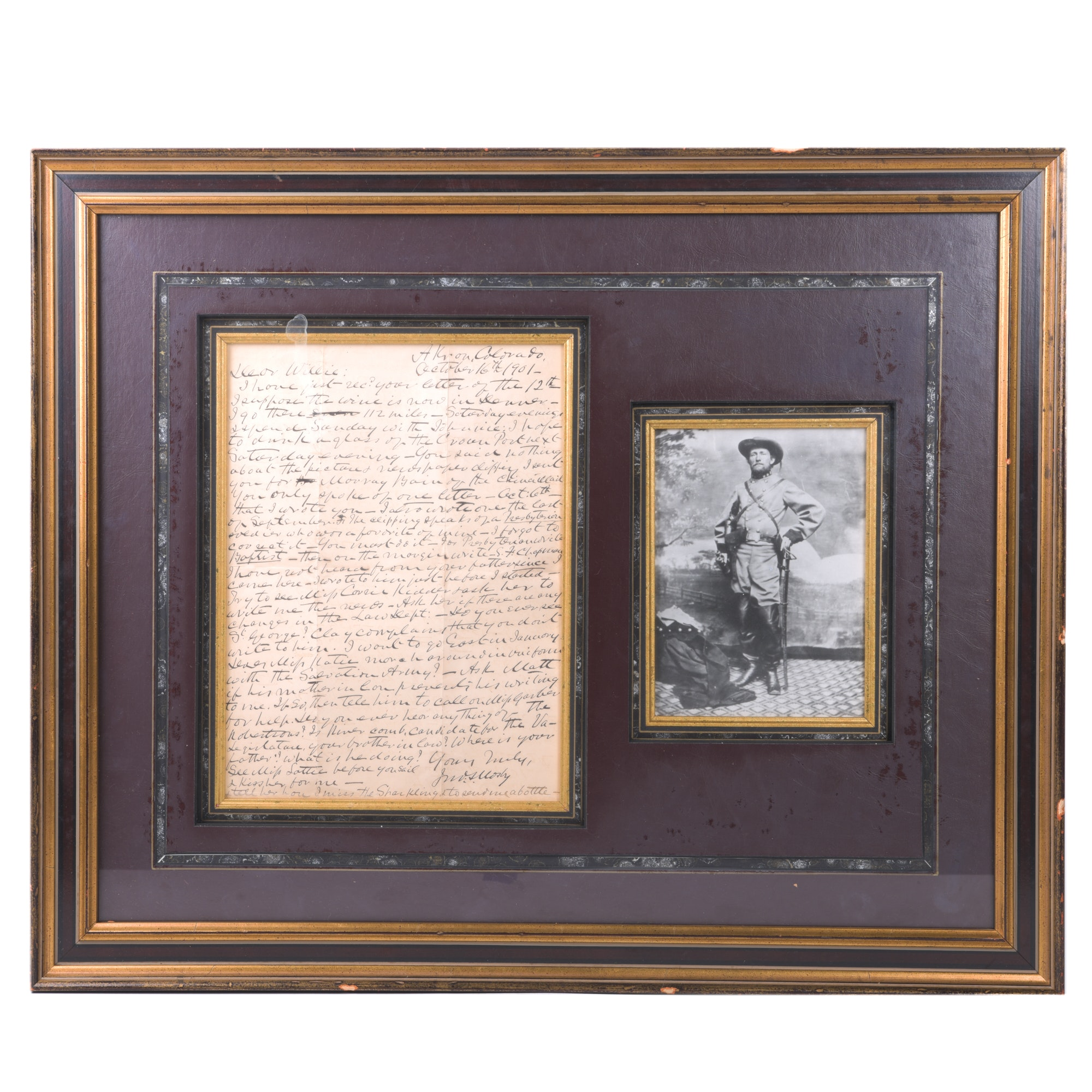 """John S. Mosby Signed Letter to William """"Willie"""" Chapman with Photograph"""