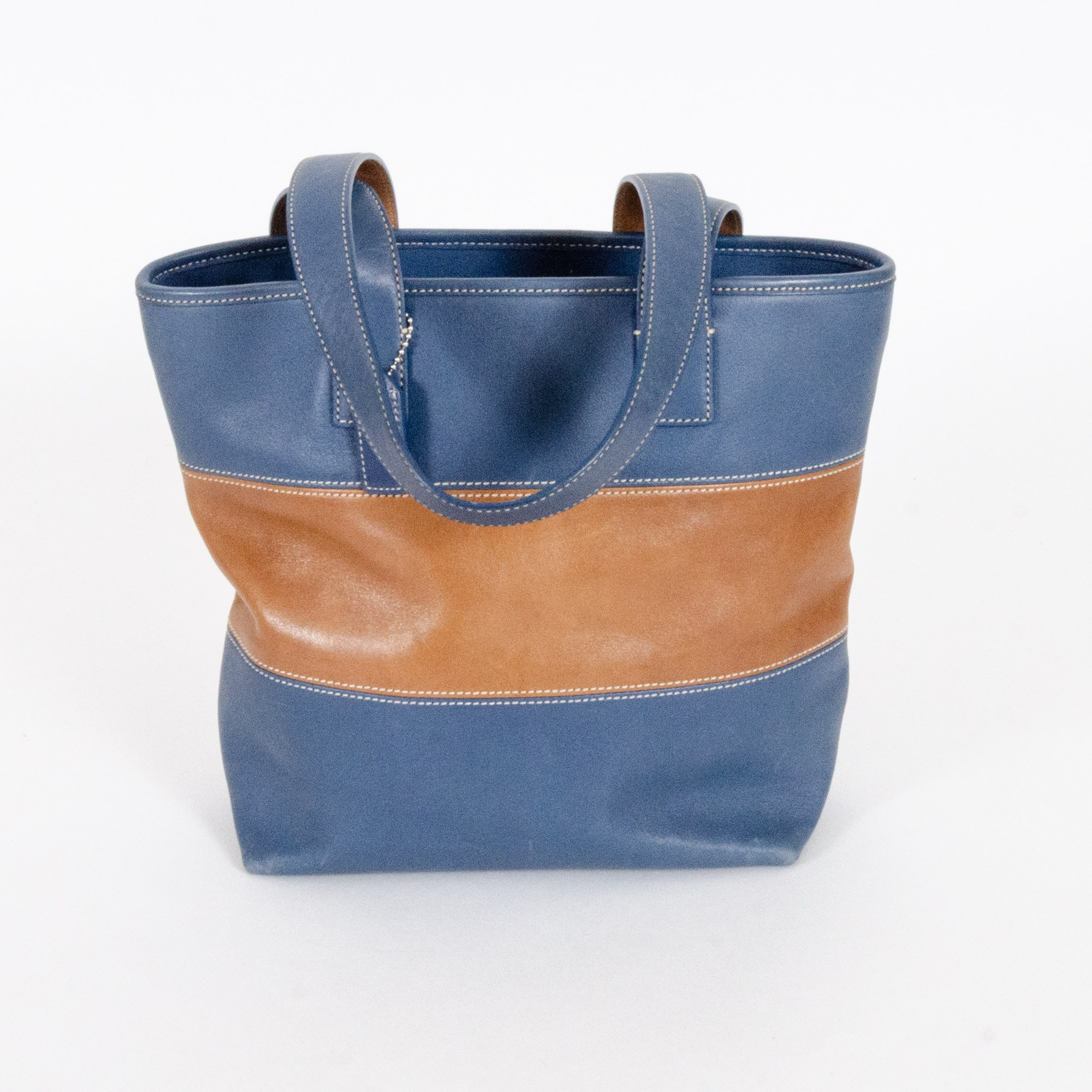 Coach Blue and Tan Leather Tote