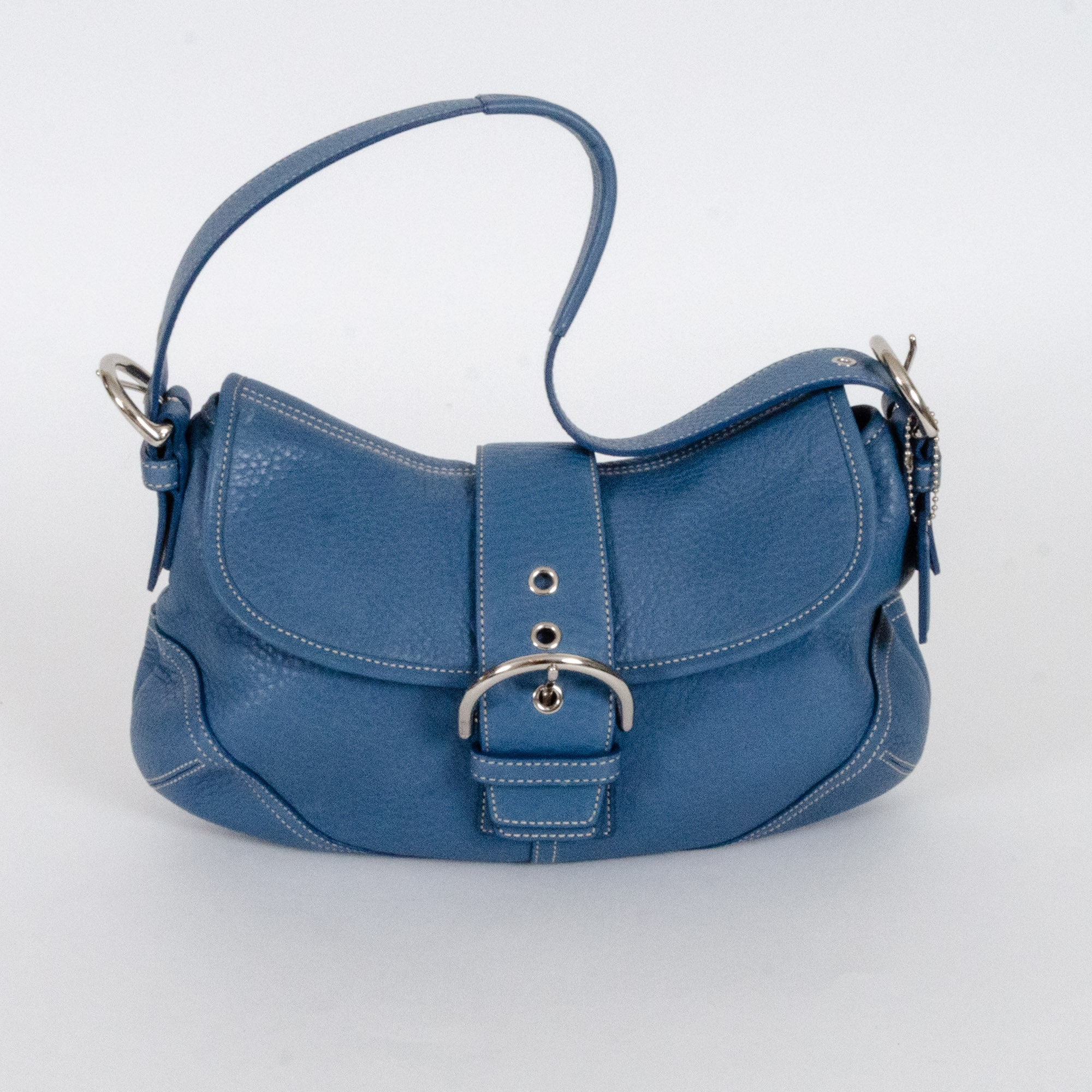 Coach Hamptons Blue Pebbled Leather Buckle Flap Demi Bag