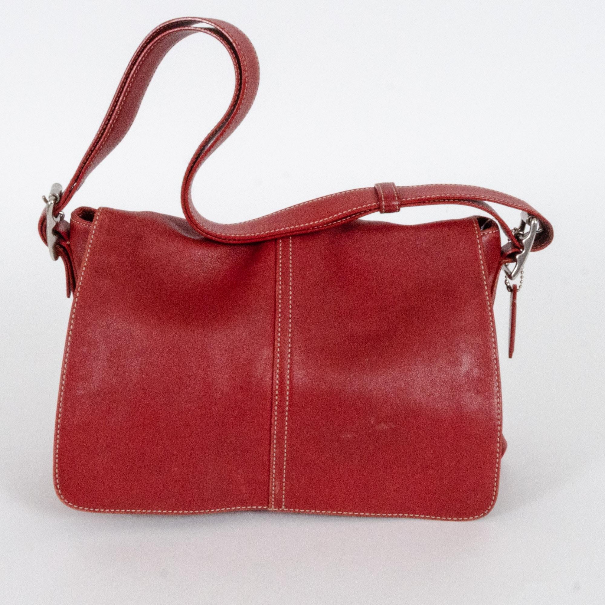 Vintage Coach Hamptons Flap Red Leather Handbag